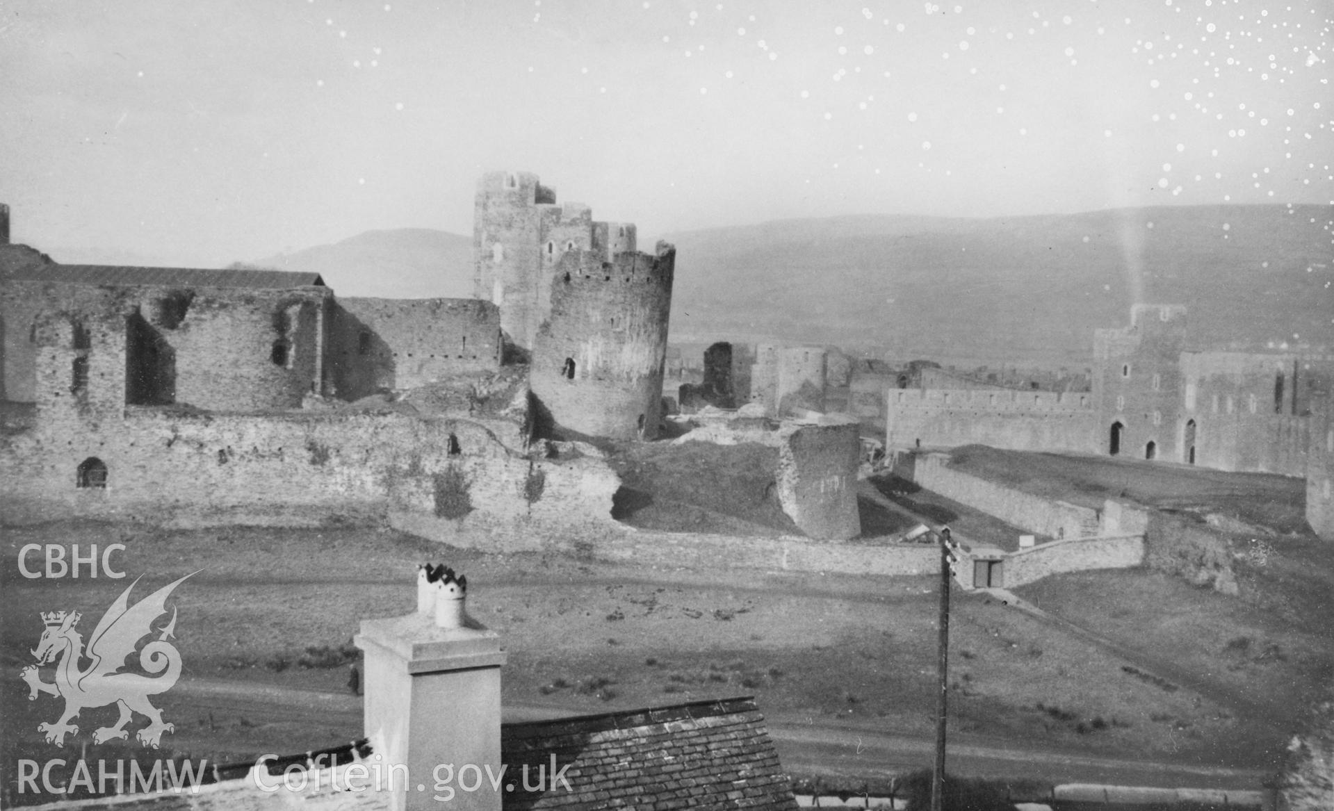 Black and white acetate negative showing Caerphilly Castle.