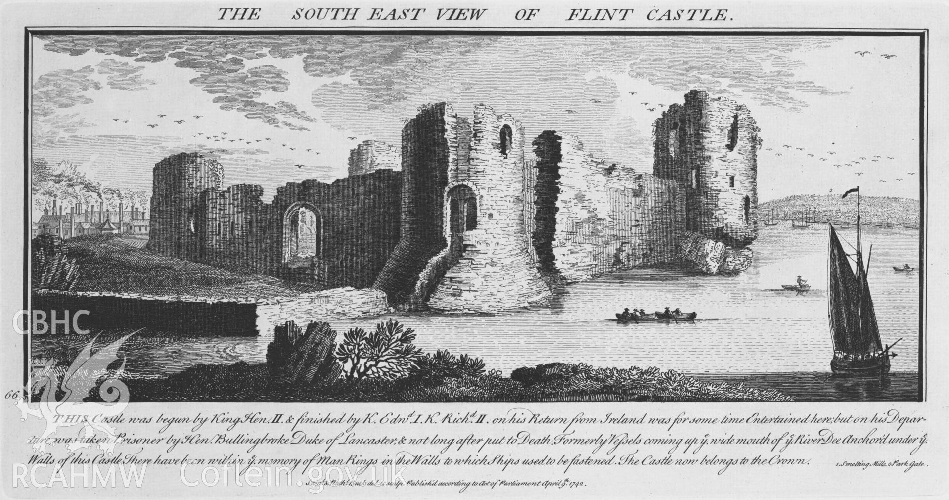 Black and white photograph relating to Flint Castle: copy of an engraving, entitled 'The South East View of Flint Castle', from Buck's Antiquities.