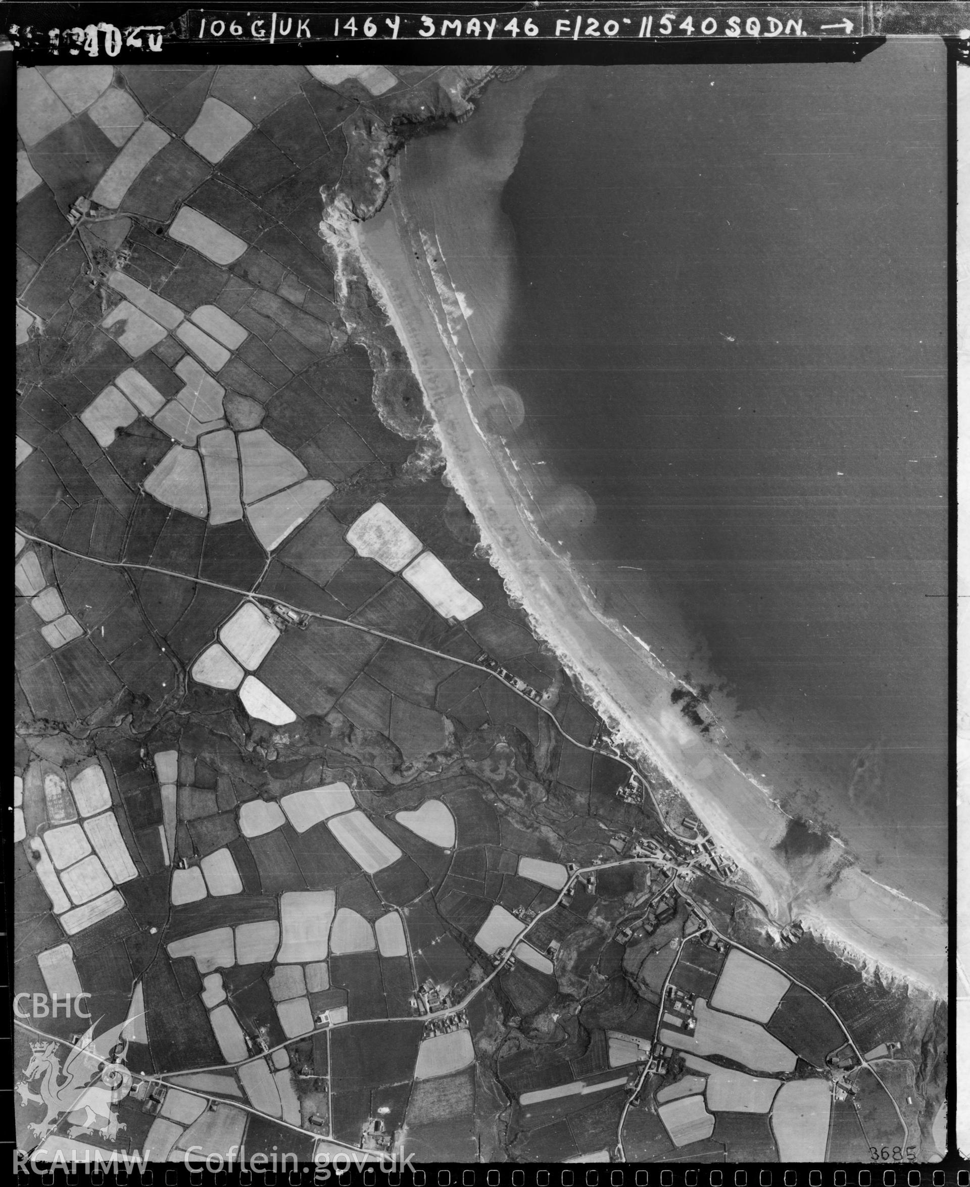 Black and white vertical aerial photograph taken by the RAF on 03/05/1946 centred on SH18272625 at a scale of 1:10000. The photograph includes part of Aberdaron community in Gwynedd.