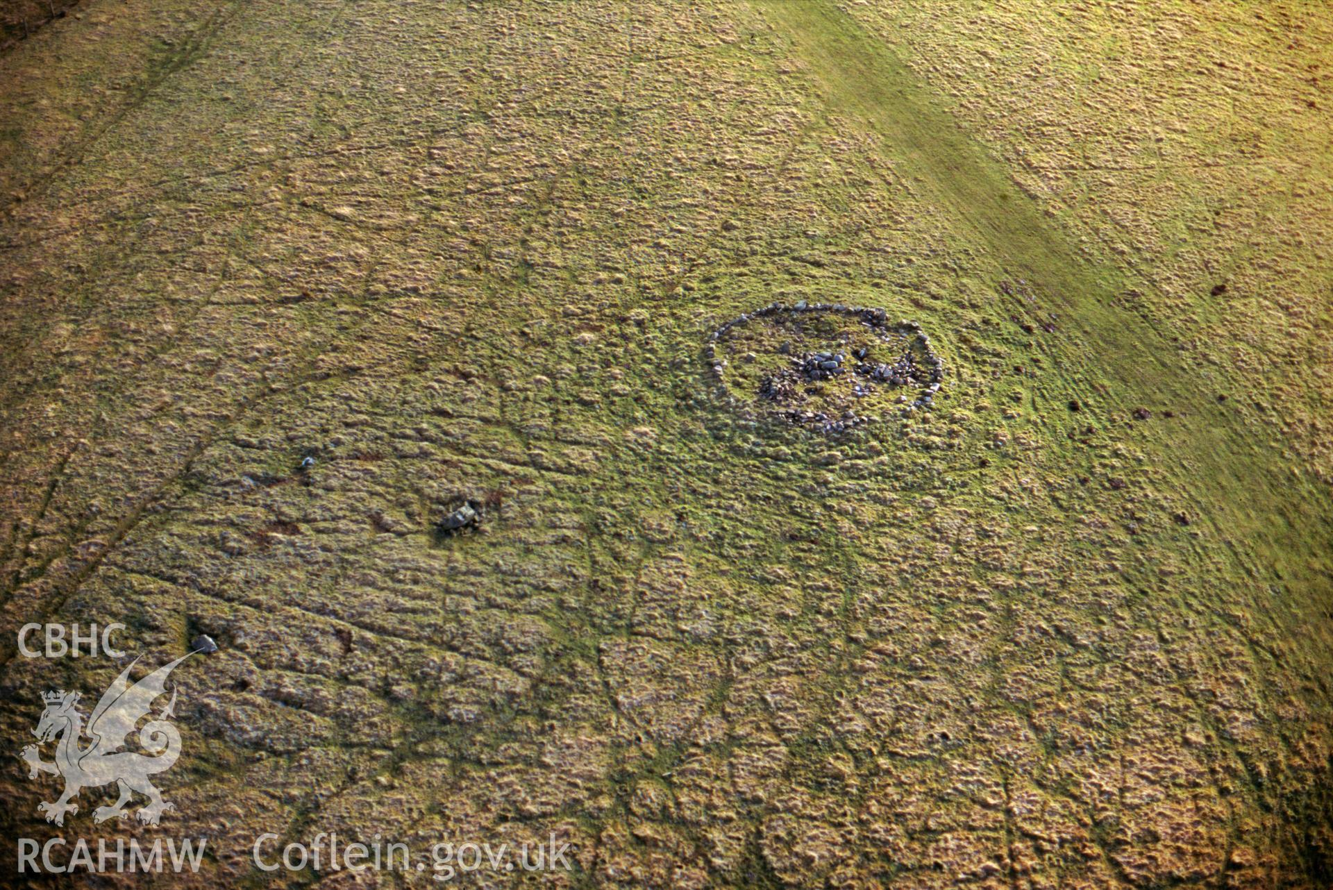 RCAHMW colour slide oblique aerial photograph of Fowlers Arm Chair Stone Circle, Abbey Cwmhir, taken on 20/12/1998 by CR Musson