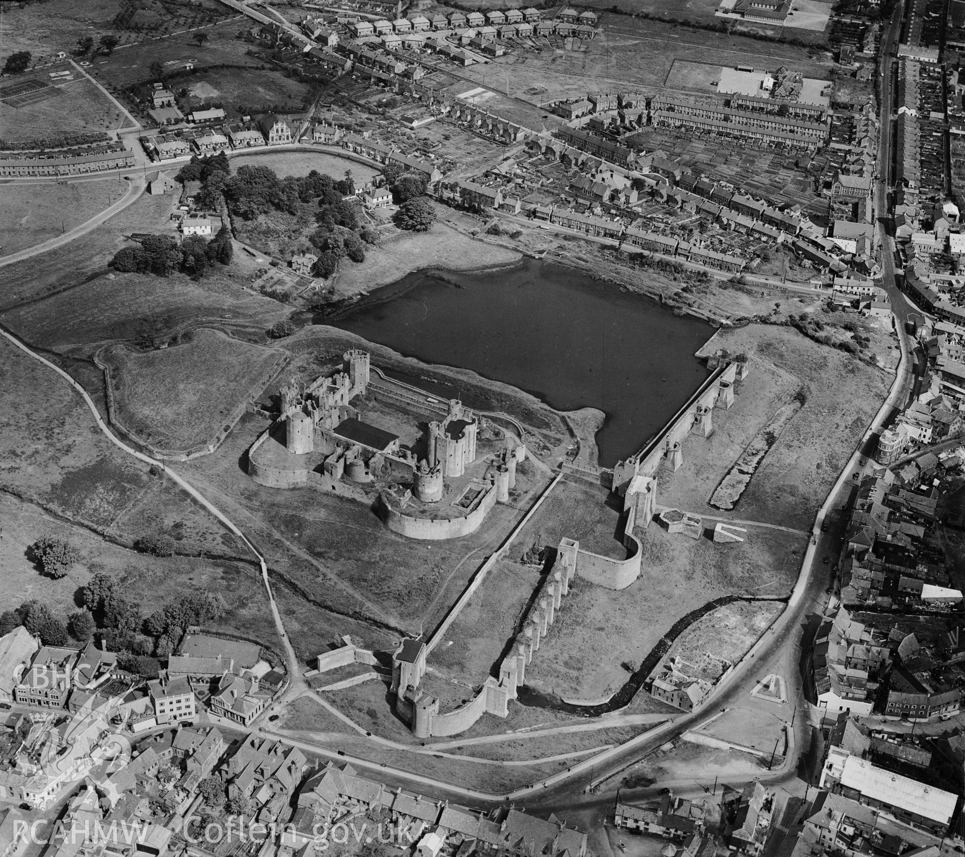 D.O.E photograph of Caerphilly Castle. Aerial. Duplicate neg ? Aerofilms.