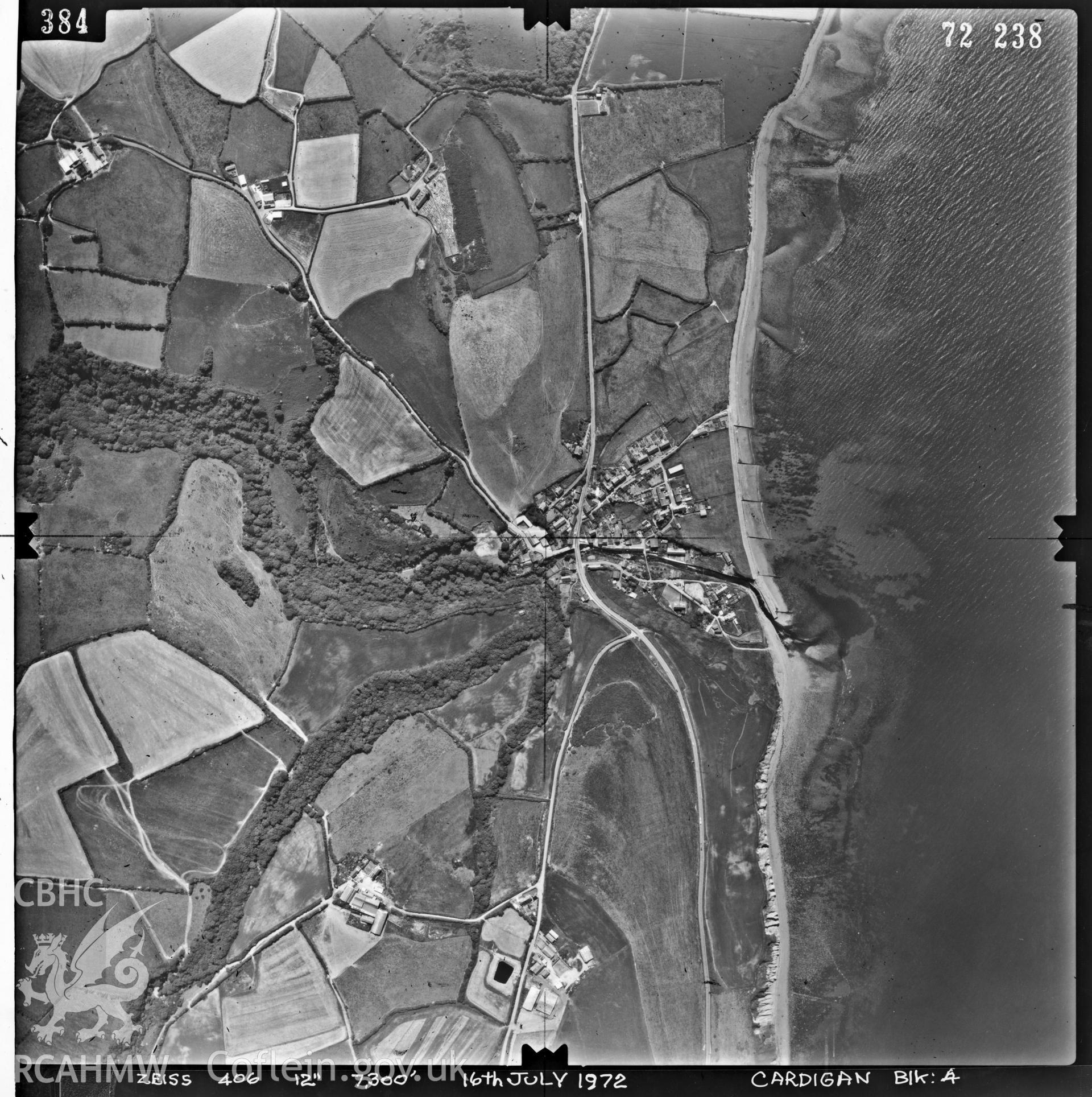 Digitized copy of an aerial photograph showing Aberaeron area, taken by Ordnance Survey, 1972.