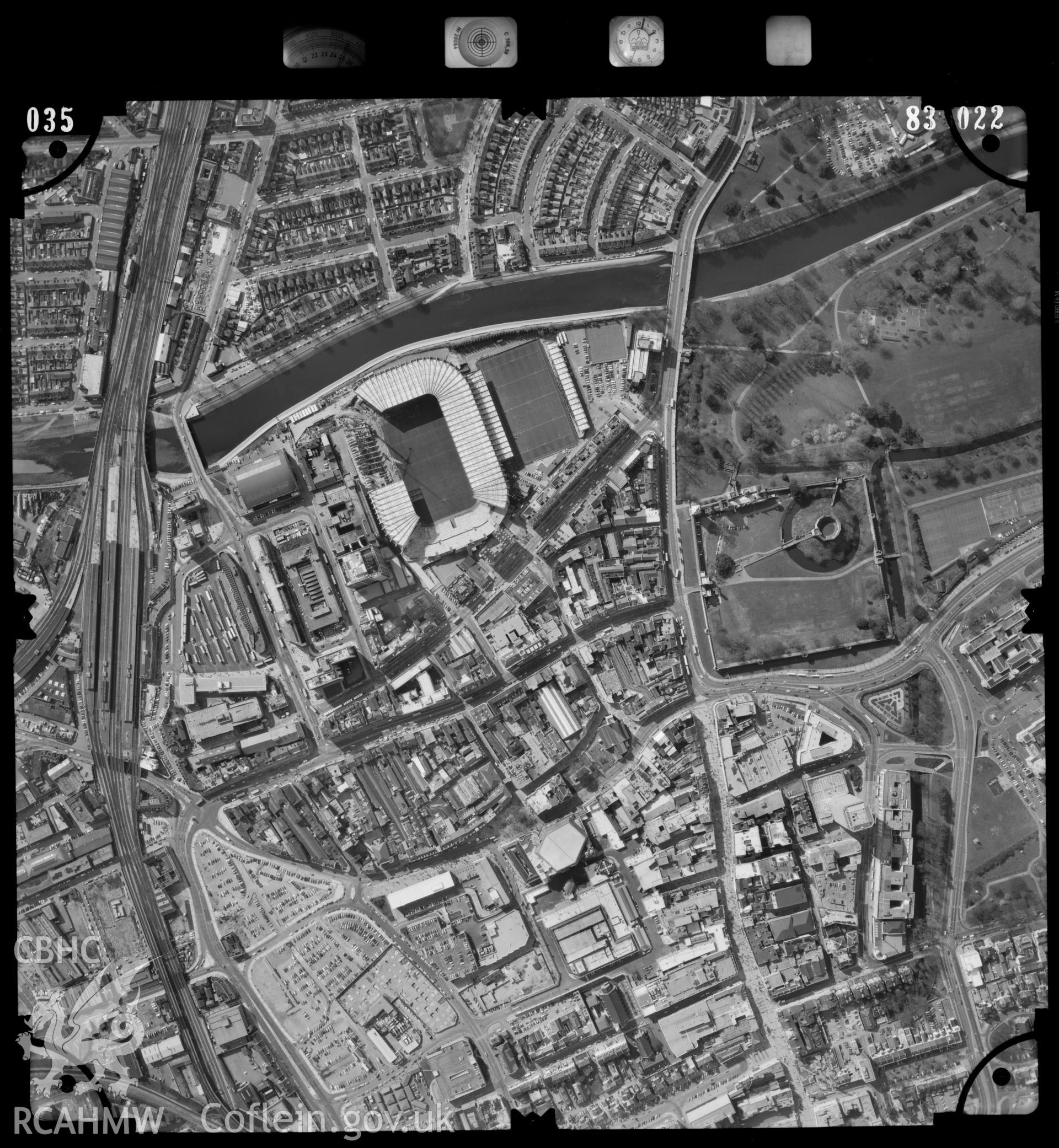 Digitized copy of an aerial photograph showing the Riverside area in Cardiff, taken by Ordnance Survey, 1983.
