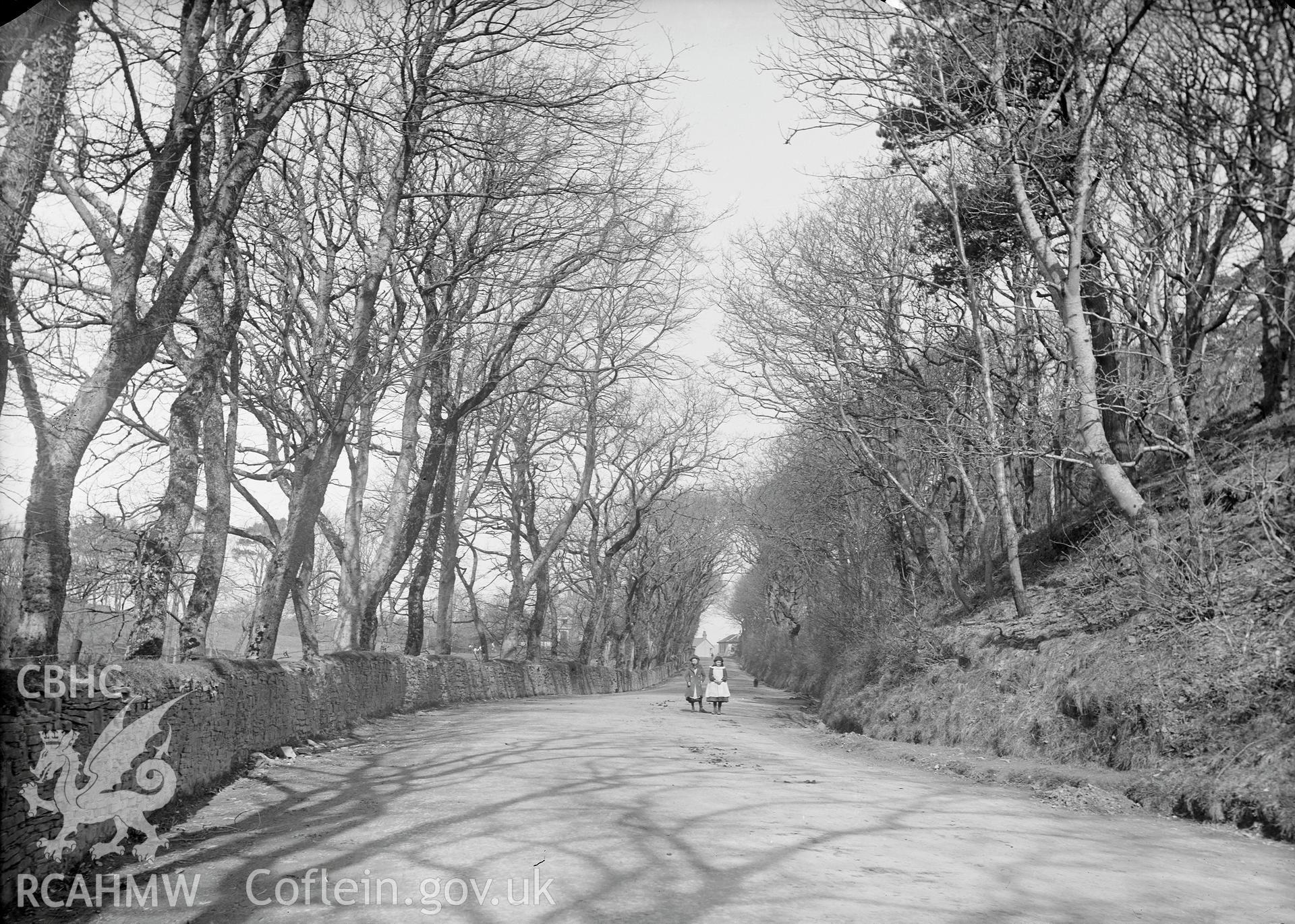 Black and white image dating from c.1910 showing the A487 at Southgate,  taken by Emile T. Evans.