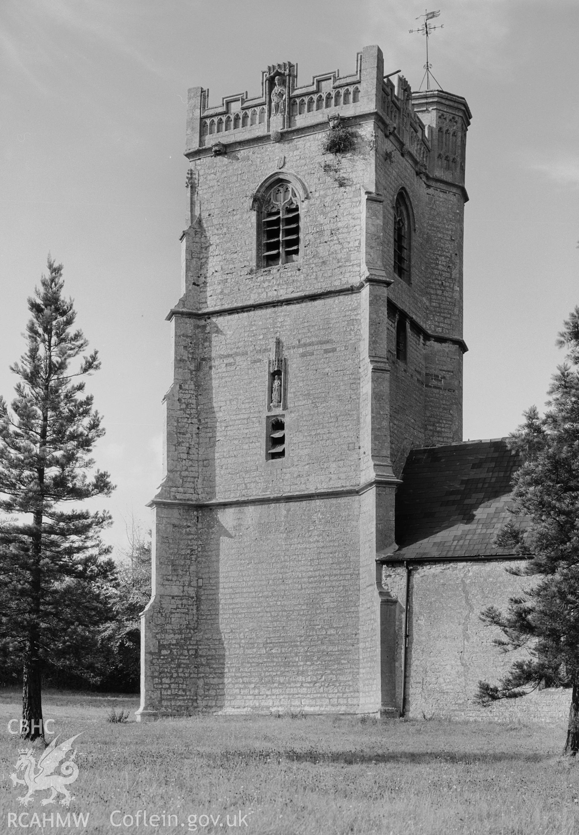 The tower at St Bride's Church from the southeast, taken by Clayton.