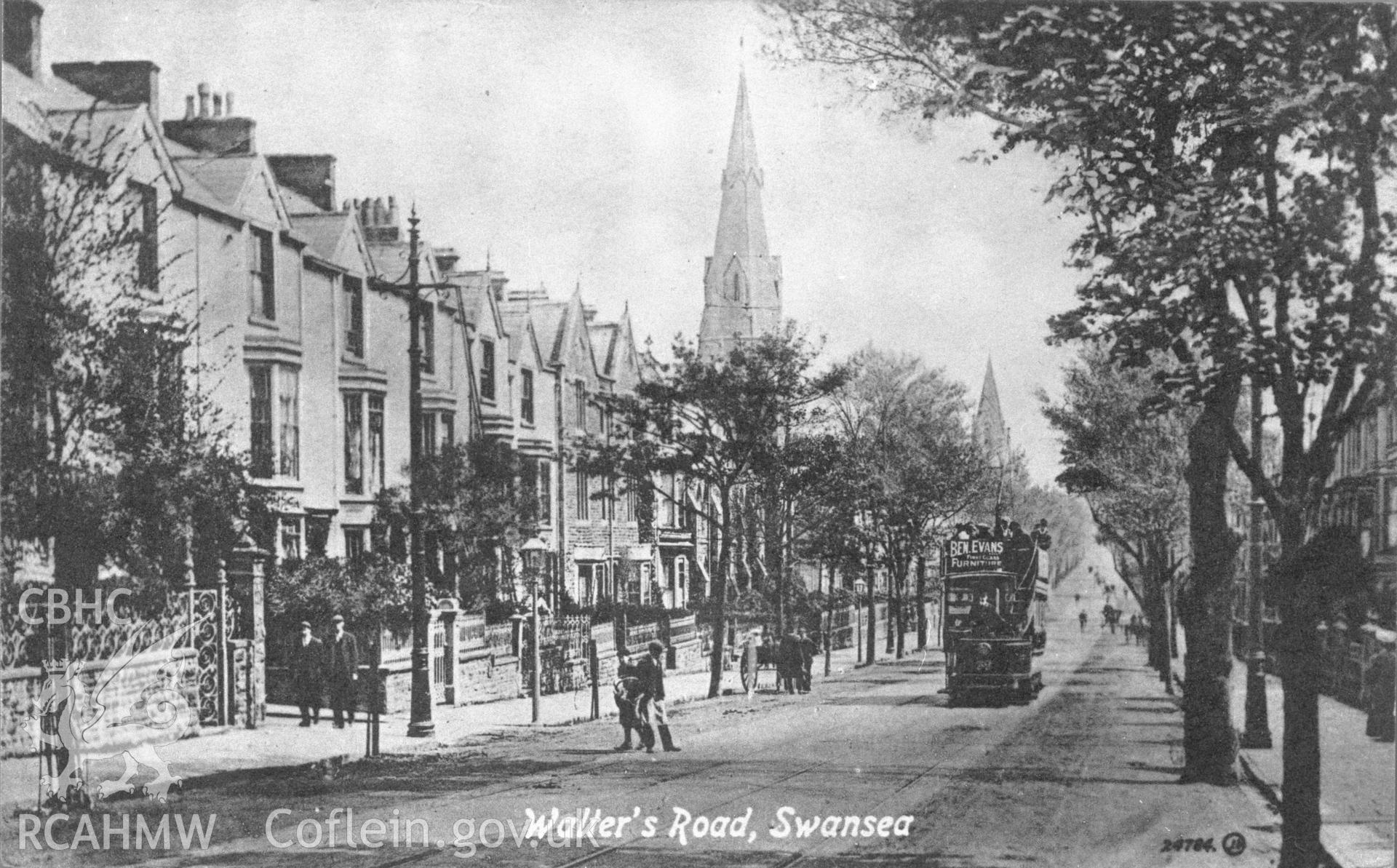 Copy of an early black and white photograph showing Walter Road, Swansea.