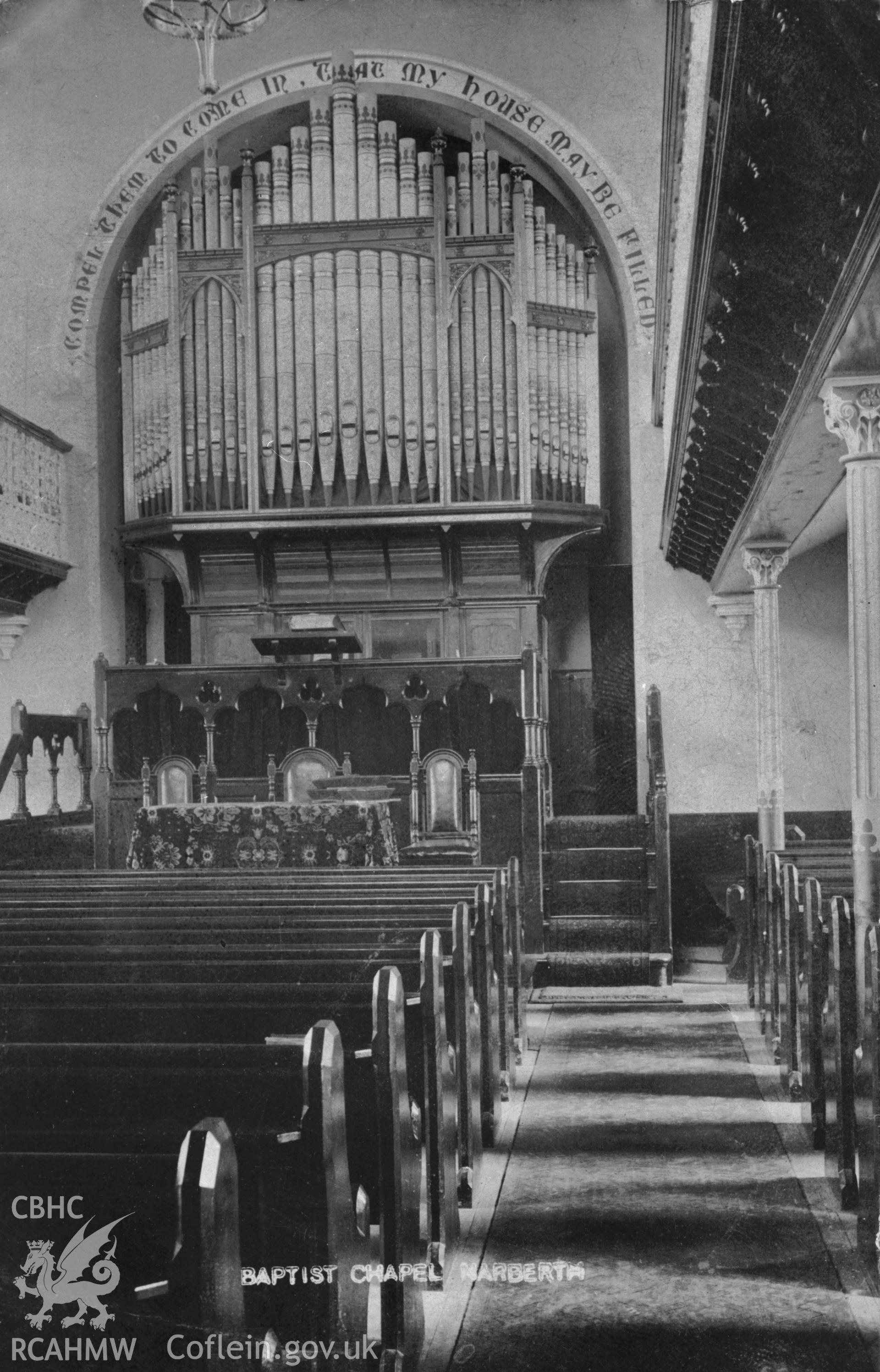 Bethesda Baptist Chapel, Narberth; B&W print copied from an undated postcard loaned for copying by Thomas Lloyd.  Copy negative held.