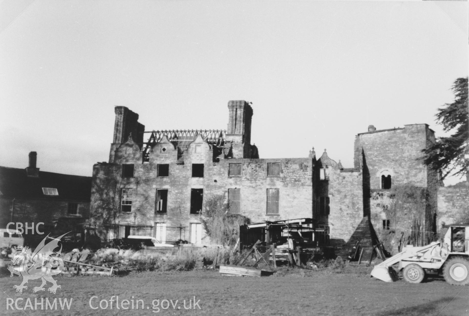 View of  Castle House, Hay Castle probably taken after the 1977 fire. Black and white photograph copied from a photo loaned for copying by Thomas Lloyd.