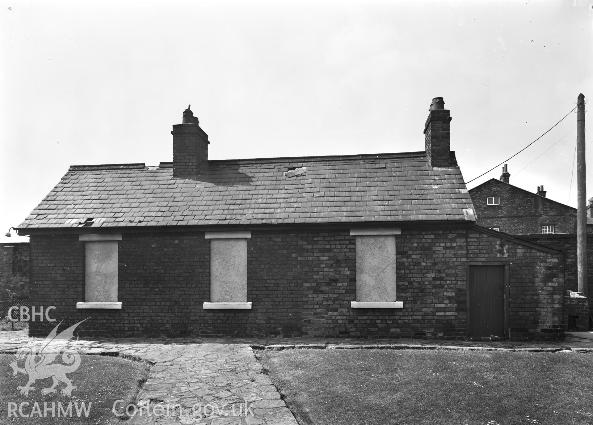 D.O.E photograph of Flint Gaol - cottage from north east. In castle outer ward (since removed).
