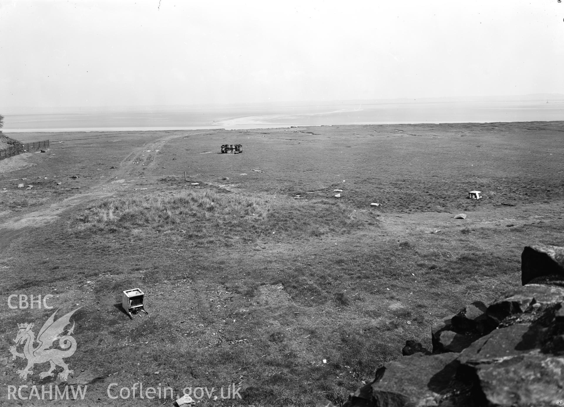 D.O.E photograph of Flint Gaol - view over saltings looking north towards the Dee Estuary. In castle outer ward (since removed).