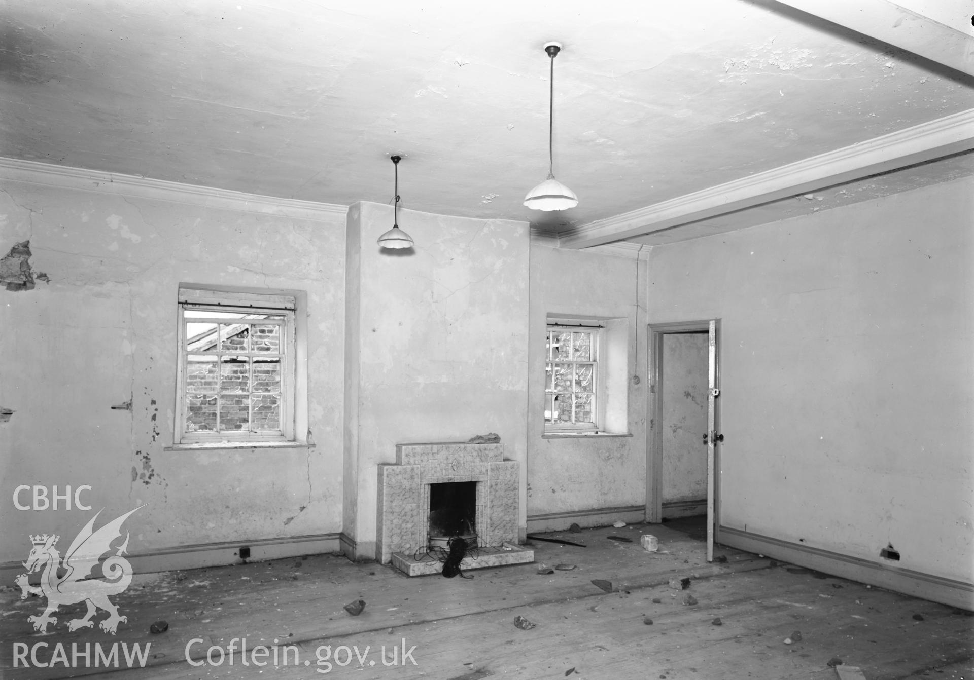 D.O.E photograph of Flint Gaol - upstairs bookroom, looking south. In castle outer ward (since removed).
