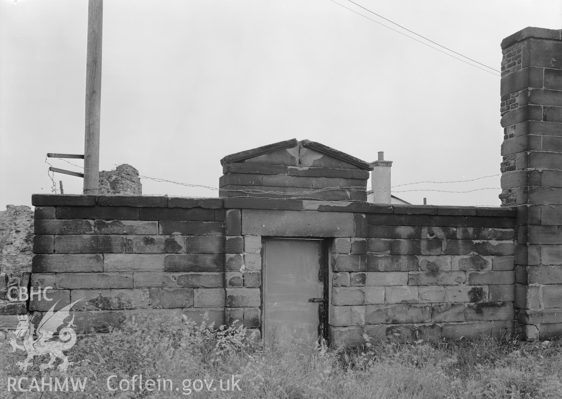 D.O.E photograph of Flint Gaol - low wing wall, north west end. In castle outer ward (since removed).