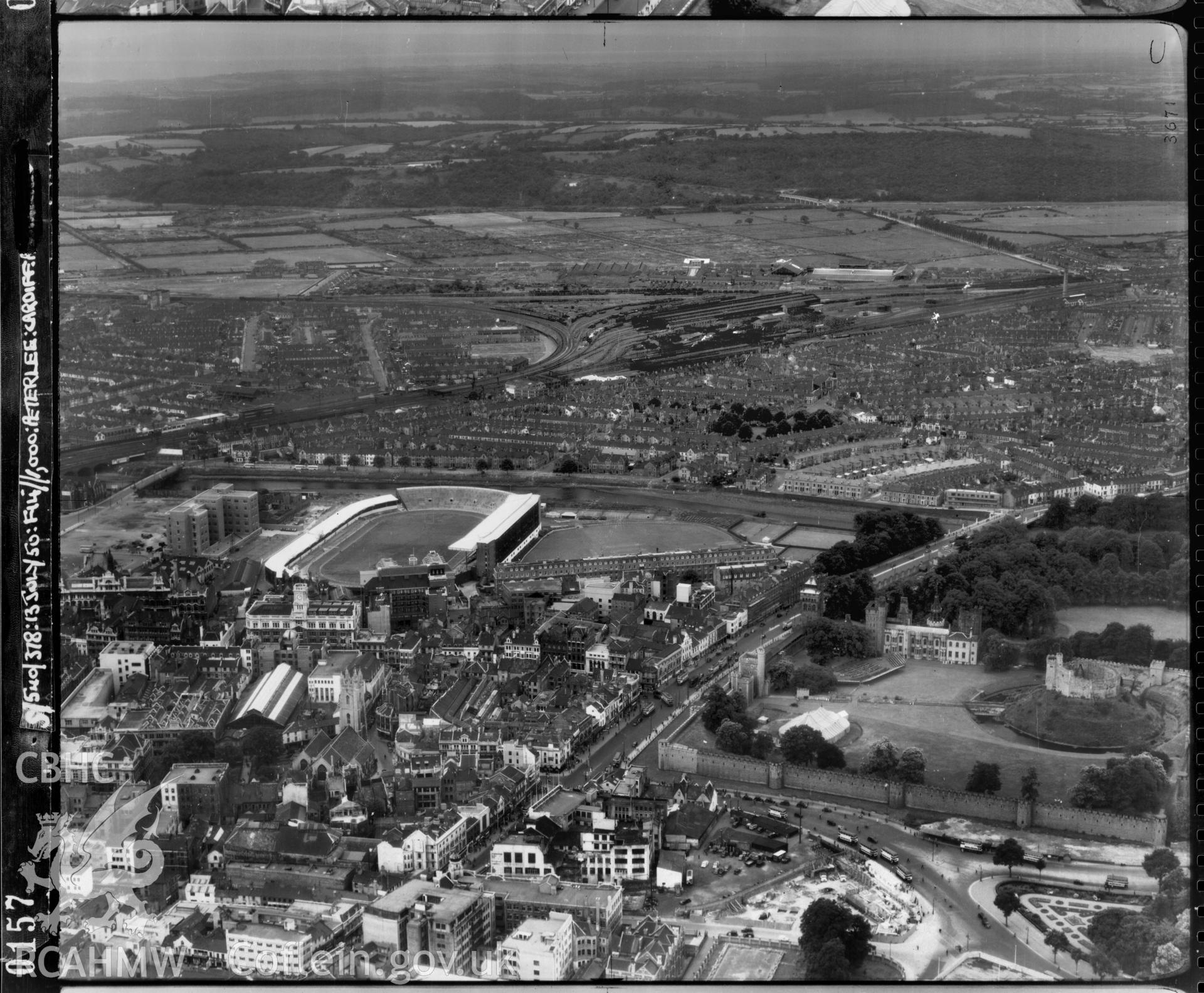 Black and white low level oblique aerial photograph taken by the RAF 1950 centred on Cardiff Arms Park.