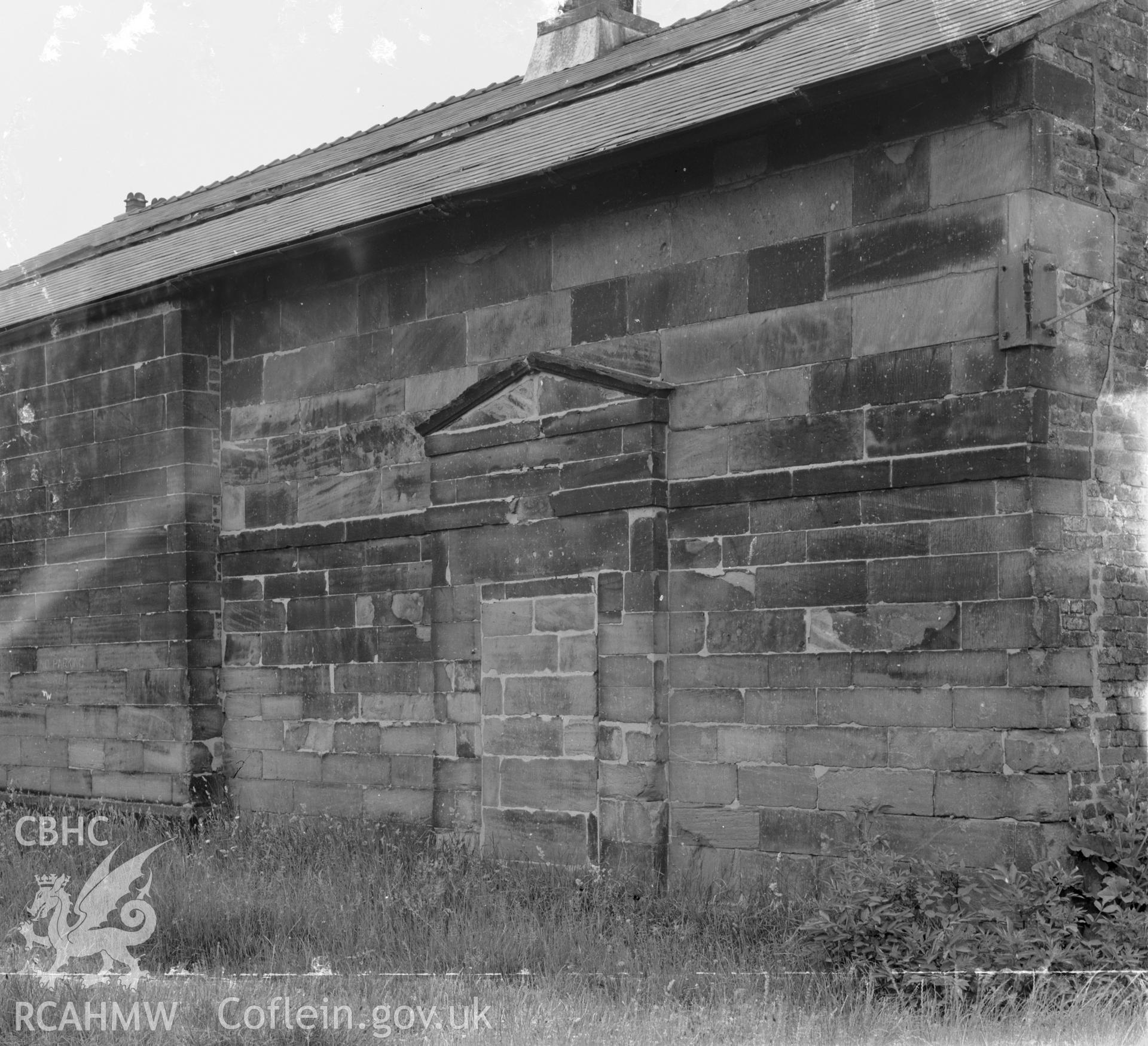 D.O.E photograph of Flint Gaol - south east low wing wall with blocked door and later heightening. In castle outer ward (since removed).