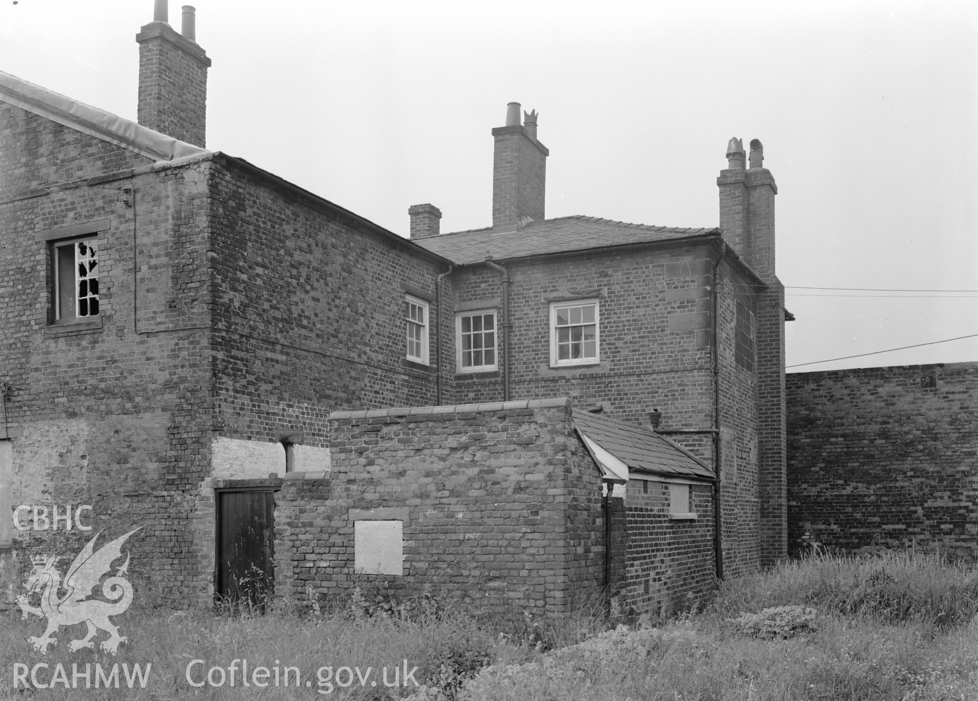 D.O.E photograph of Flint Gaol - north corner of main block, looking south. In castle outer ward (since removed).