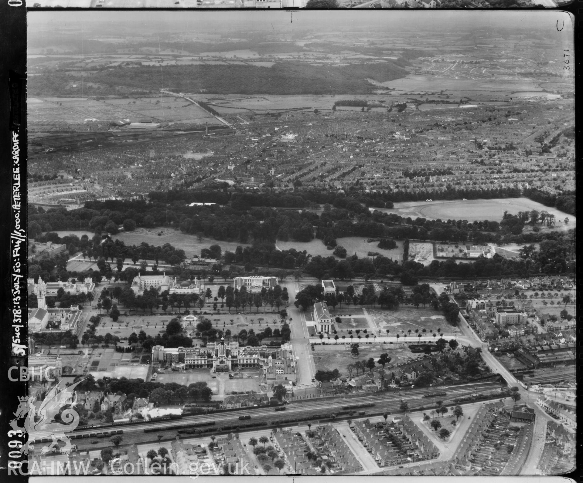 Black and white low level oblique aerial photograph taken by the RAF 1950 centred on Pontcanna Fields and Cathays Park, Cardiff