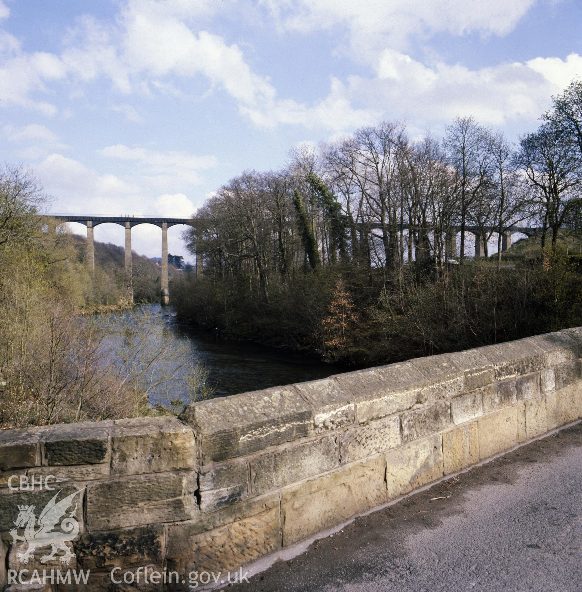 1 colour transparency showing view of Pontcysyllte Aqueduct, undated; collated by the former Central Office of Information.