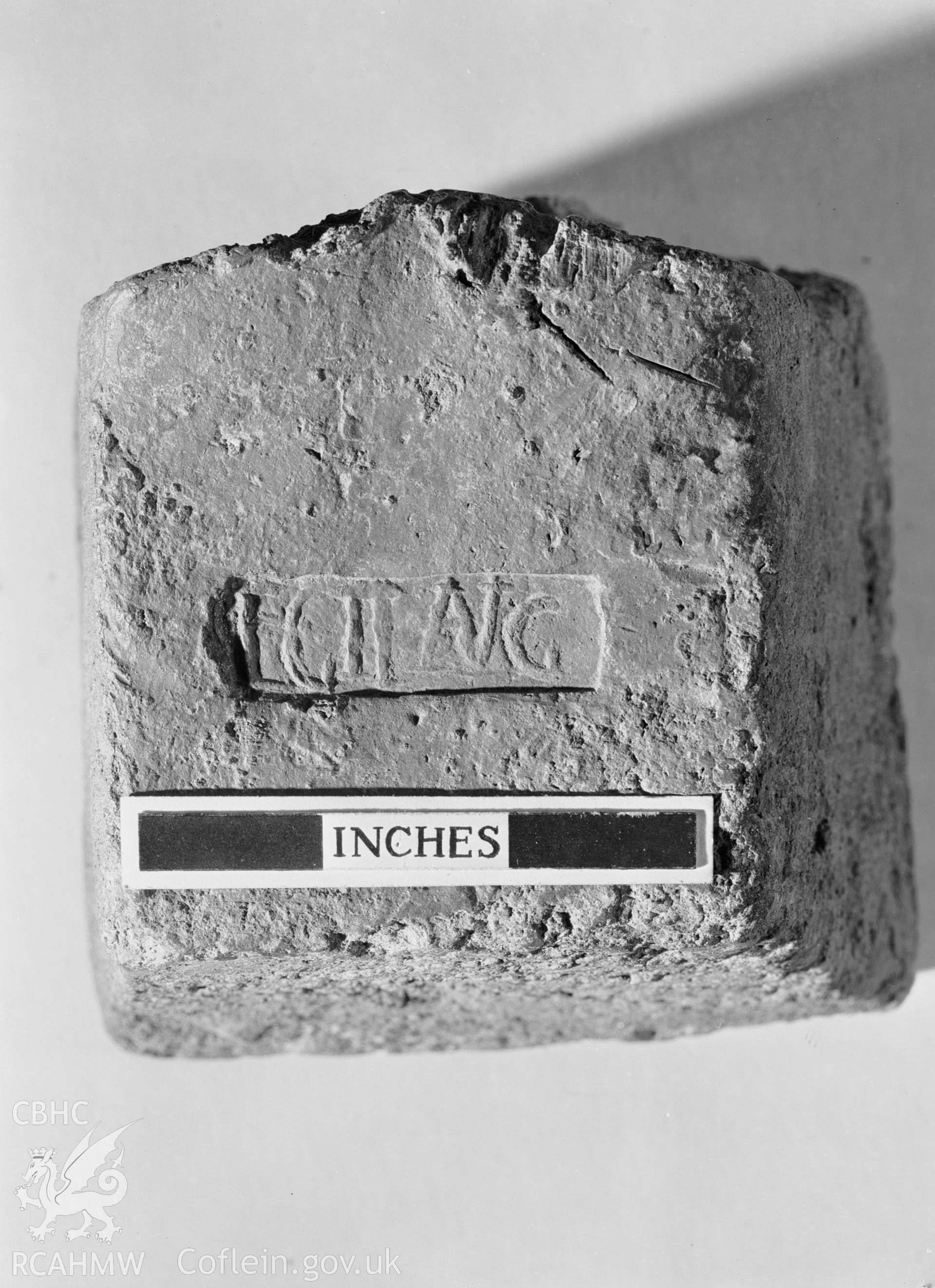 D.O.E photographs of Caerleon. Lead ingot of Leg II.