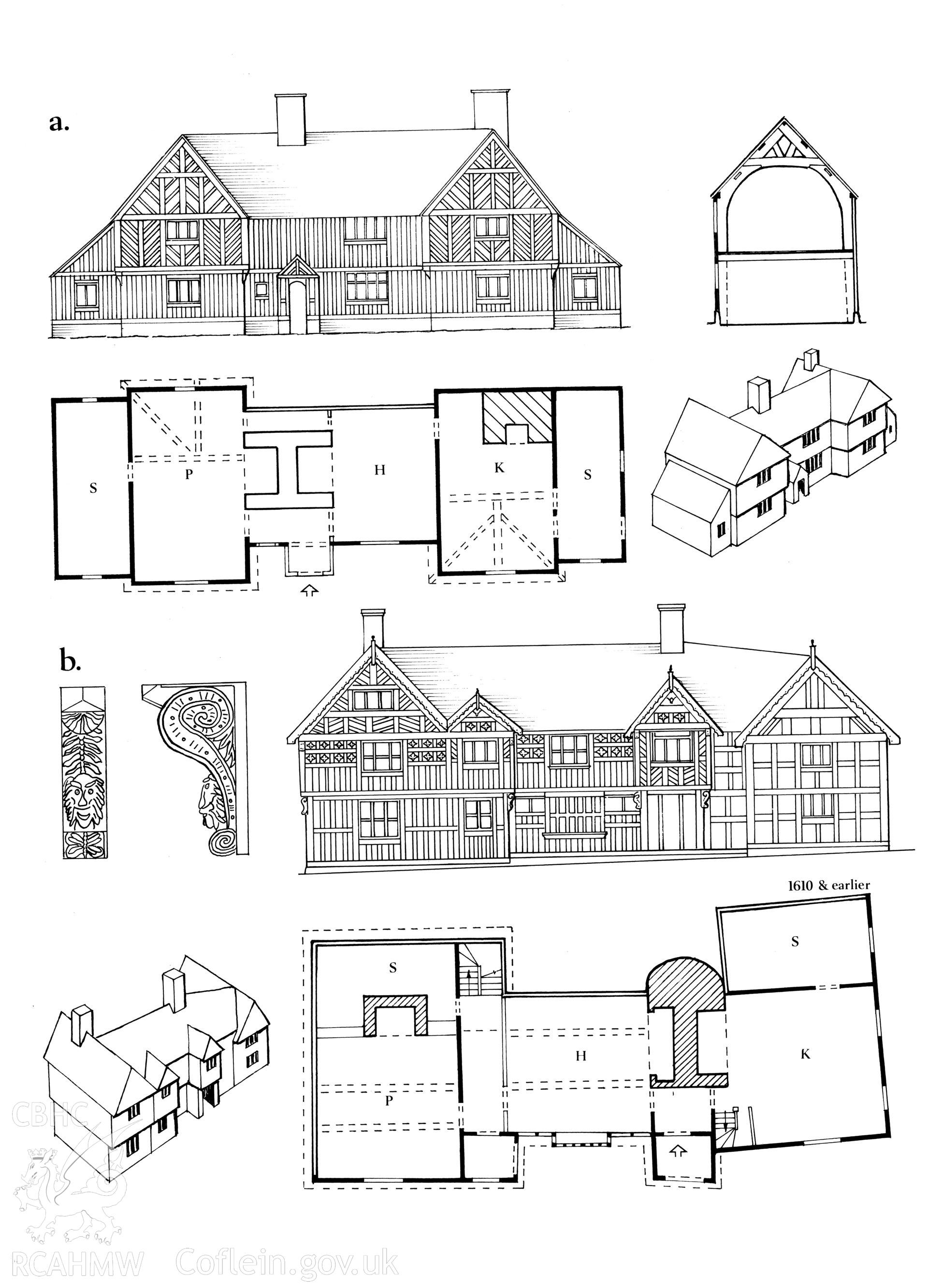 Multi site RCAHMW drawing, 2 sites, showing plan, elevation and detail of Trewern Hall and Penarth, Newtown. Published in Houses of the Welsh Countryside, fig 124.