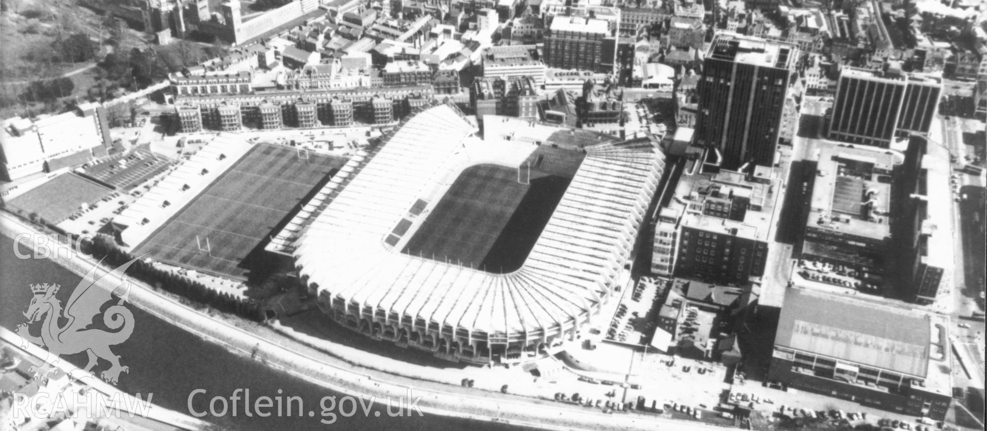 1 b/w print showing aerial oblique view of Cardiff Arms Park, Cardiff; collated by the former Central Office of Information.