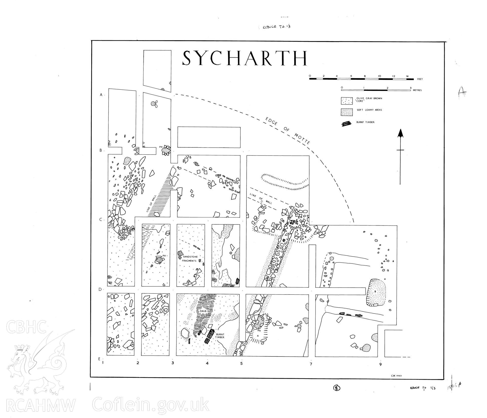 Sycharth Castle, Llansilin; ink drawing by Douglas Hague showing plan of the structure on top of the motte, produced following excavations of 1962-63 and published in Archaeologia Cambrensis Vol CXV, 1966, fig 4.