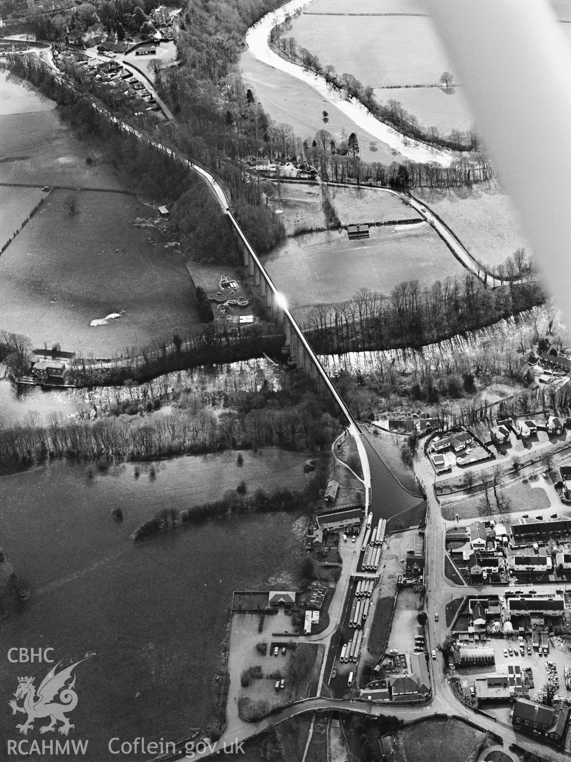 RCAHMW Black and white oblique aerial photograph of Pontcysyllte Aqueduct, 1993, by T.G. Driver.