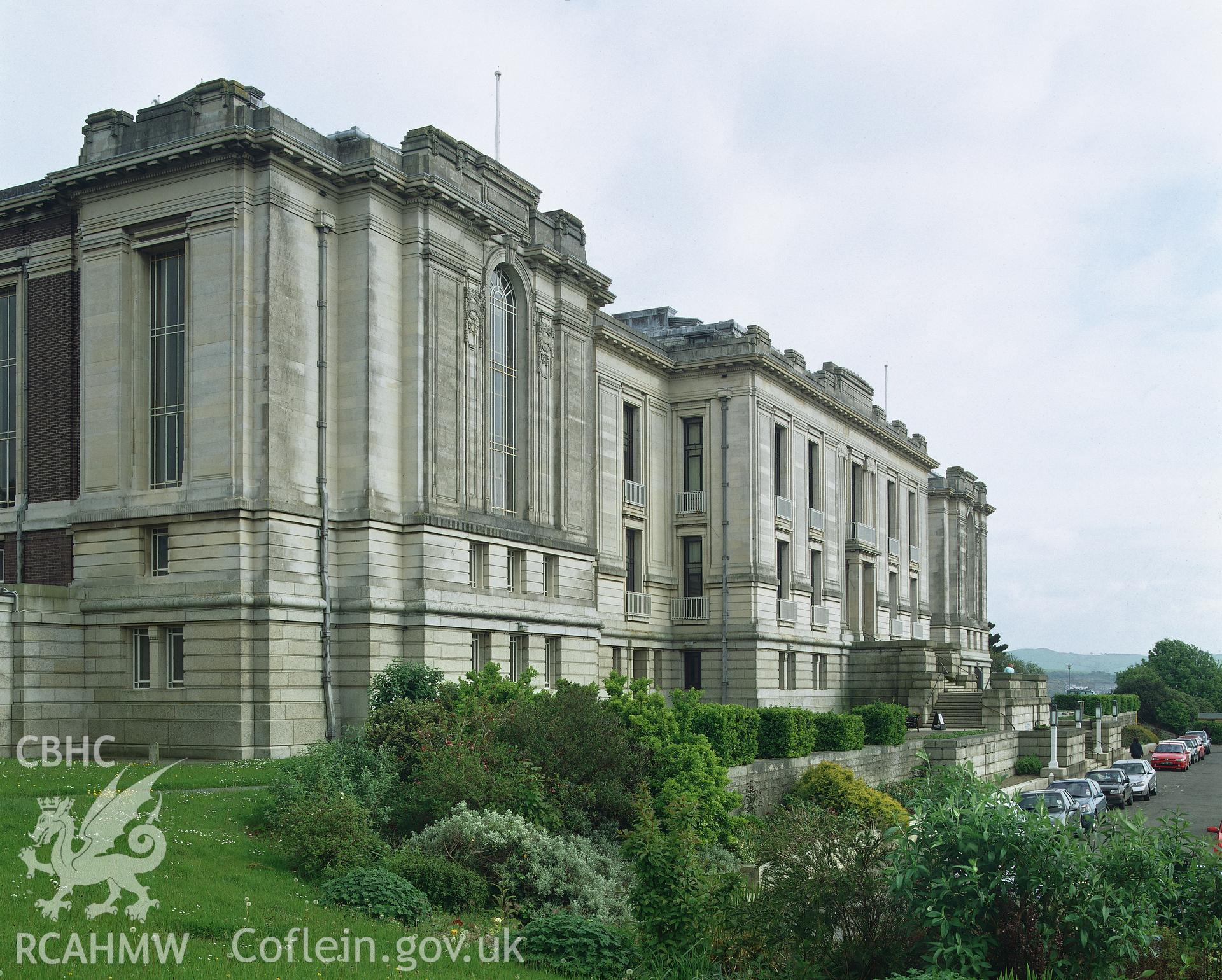 RCAHMW colour transparency showing exterior view of National Library of Wales, Aberystwyth