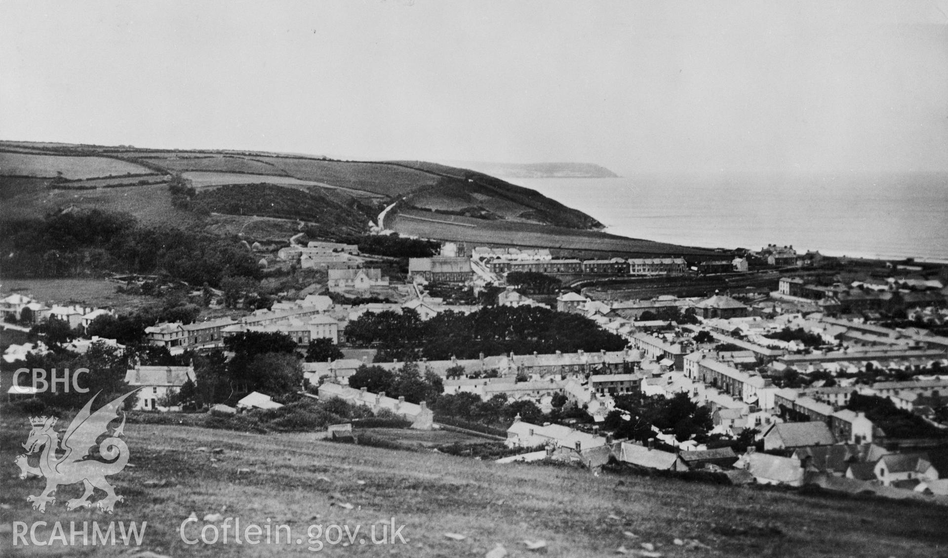 A black and white print of a general view of Aberaeron.