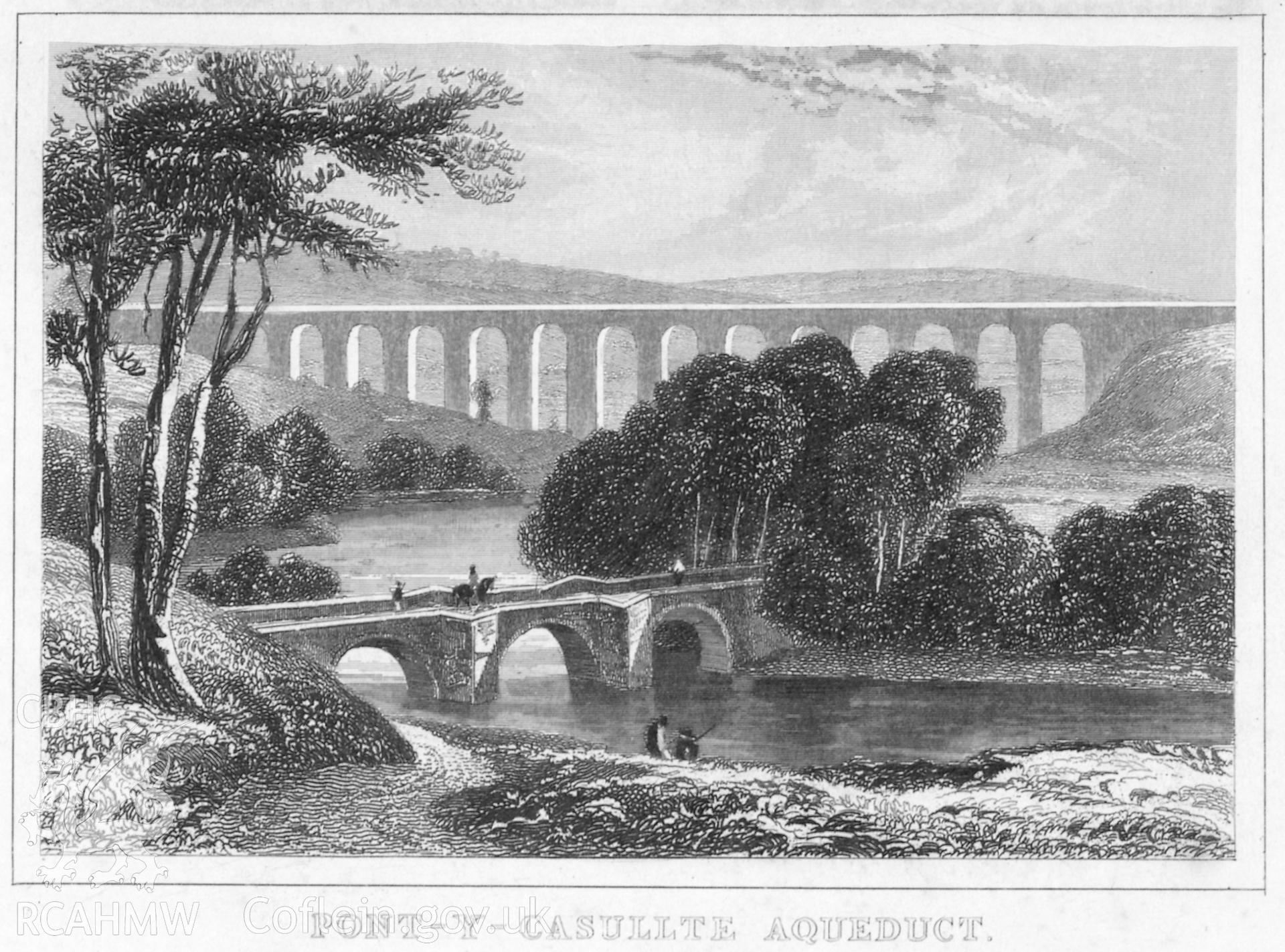 "Undated etching of Pontcysyllte Aqueduct.  Originally produced for Thomas Dugdale's part-work survey published as ""The Curiosities of Great Britain"" or ""England Delineated"" in various formats between 1838 and 1860."