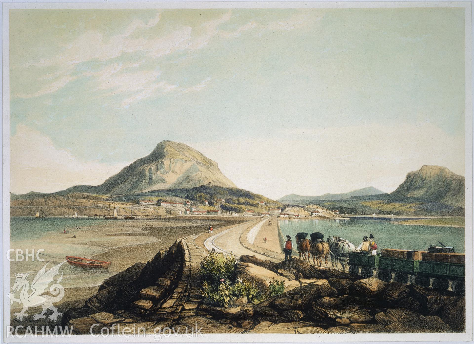 RCAHMW colour transparency showing painting of Traeth Mawr Causeway.