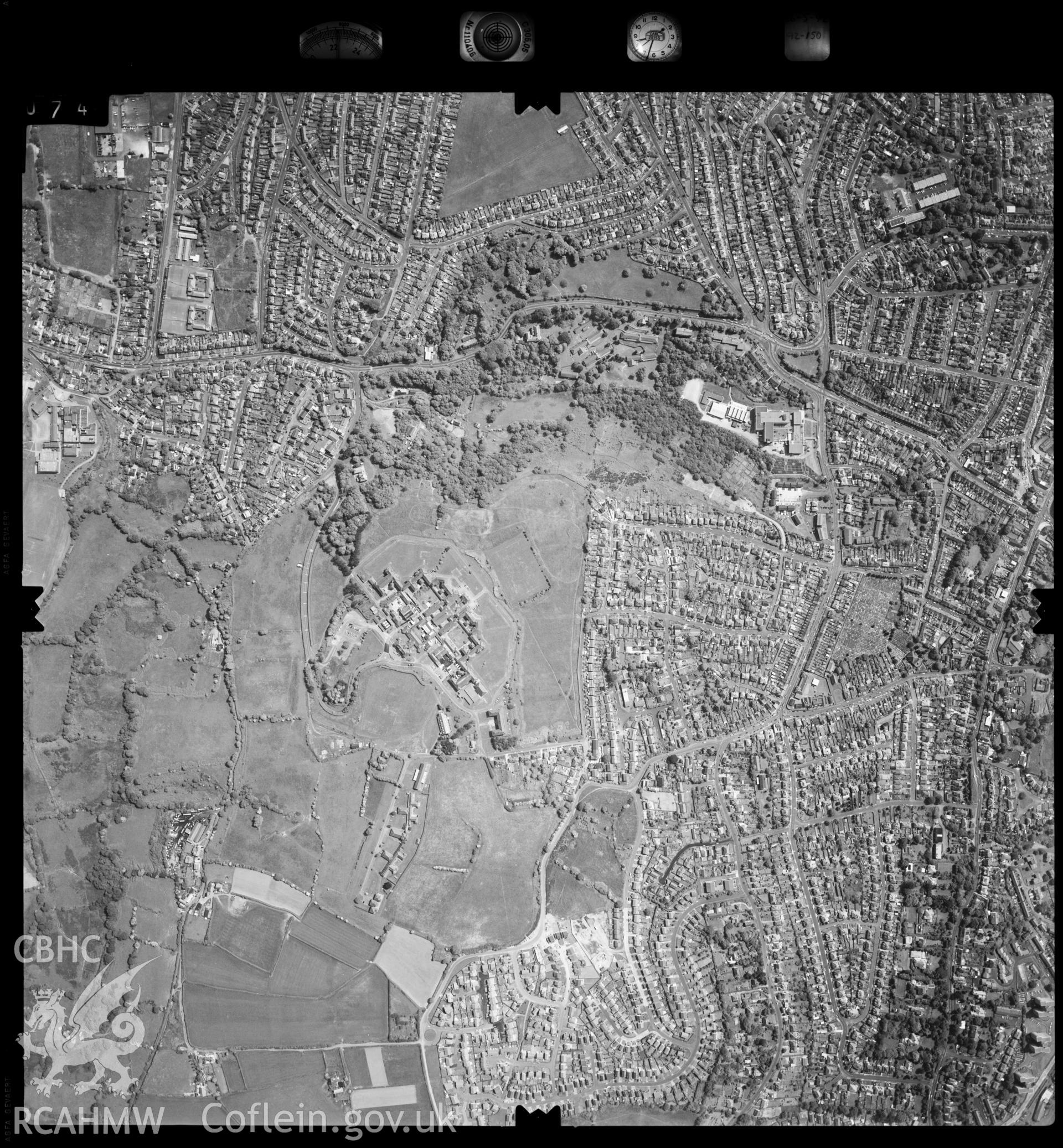 Digitized copy of an aerial photograph showing the Sketty area of Swansea, taken by Ordnance Survey, 1992.