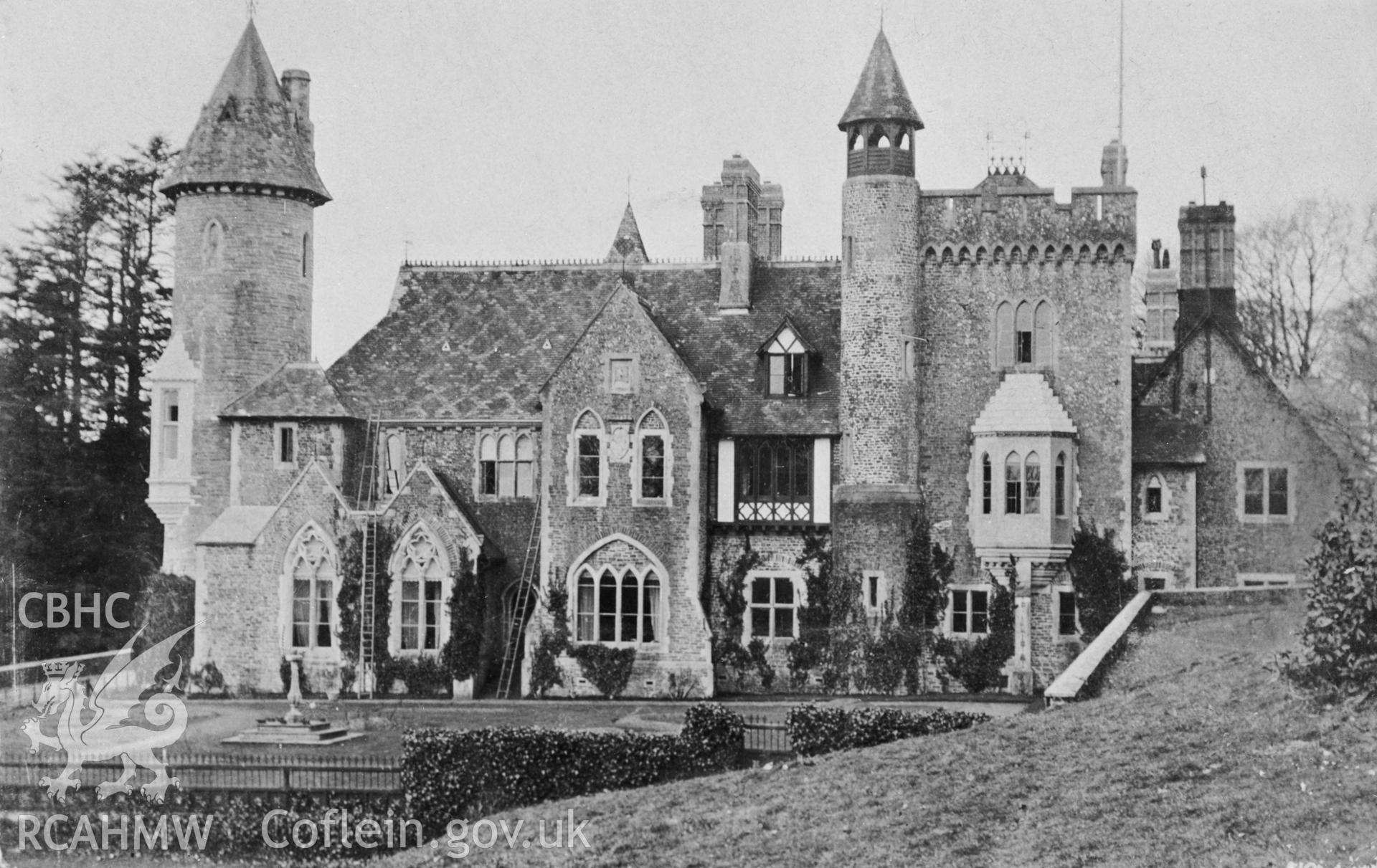 A black and white print of a postcard showing Bronwydd Mansion, Llangyllo. Postcard loaned for copying by Reid, P.M.