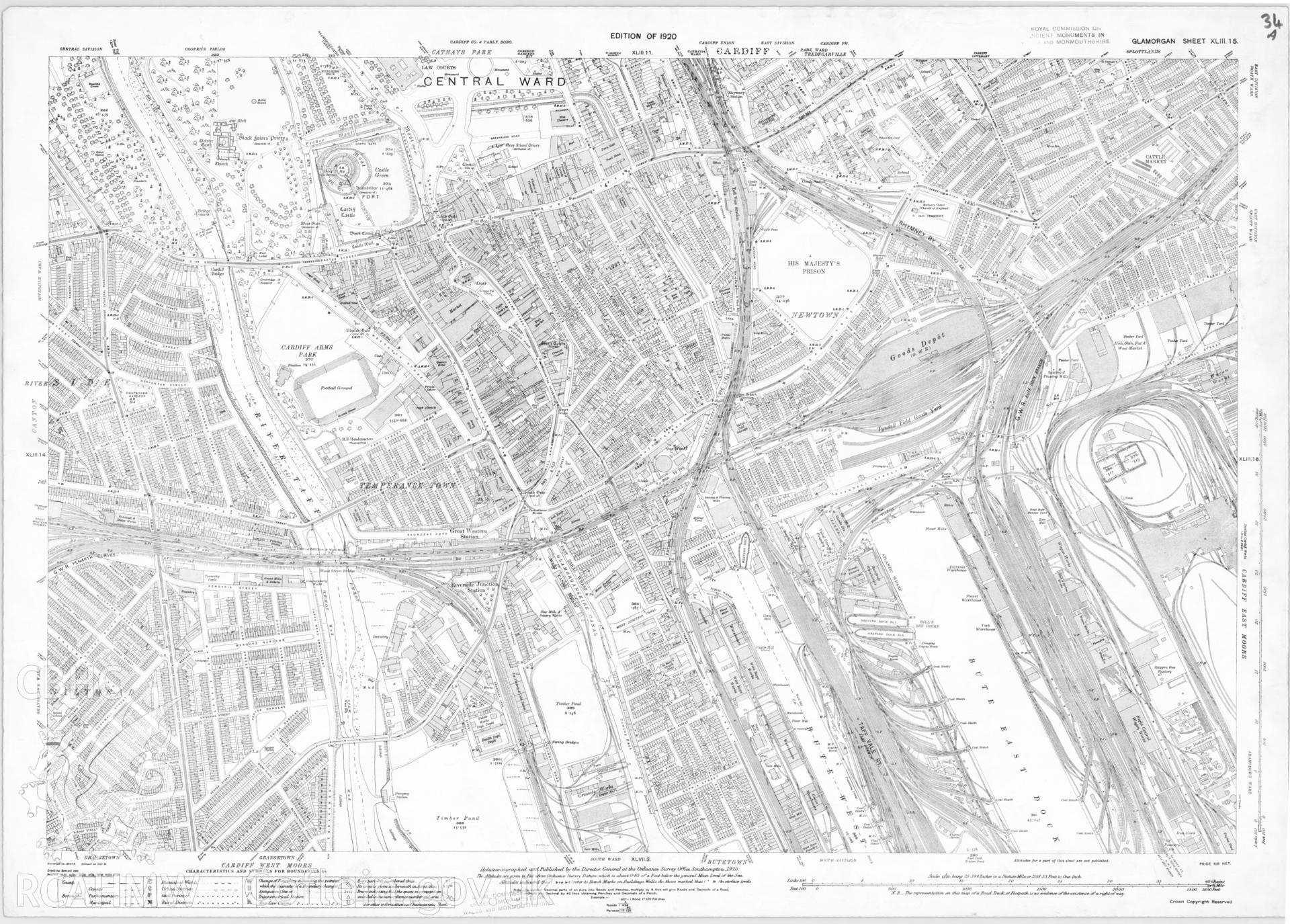 Digitized copy of Ordnance Survey 25 inch first edition map of Cardiff 1920.