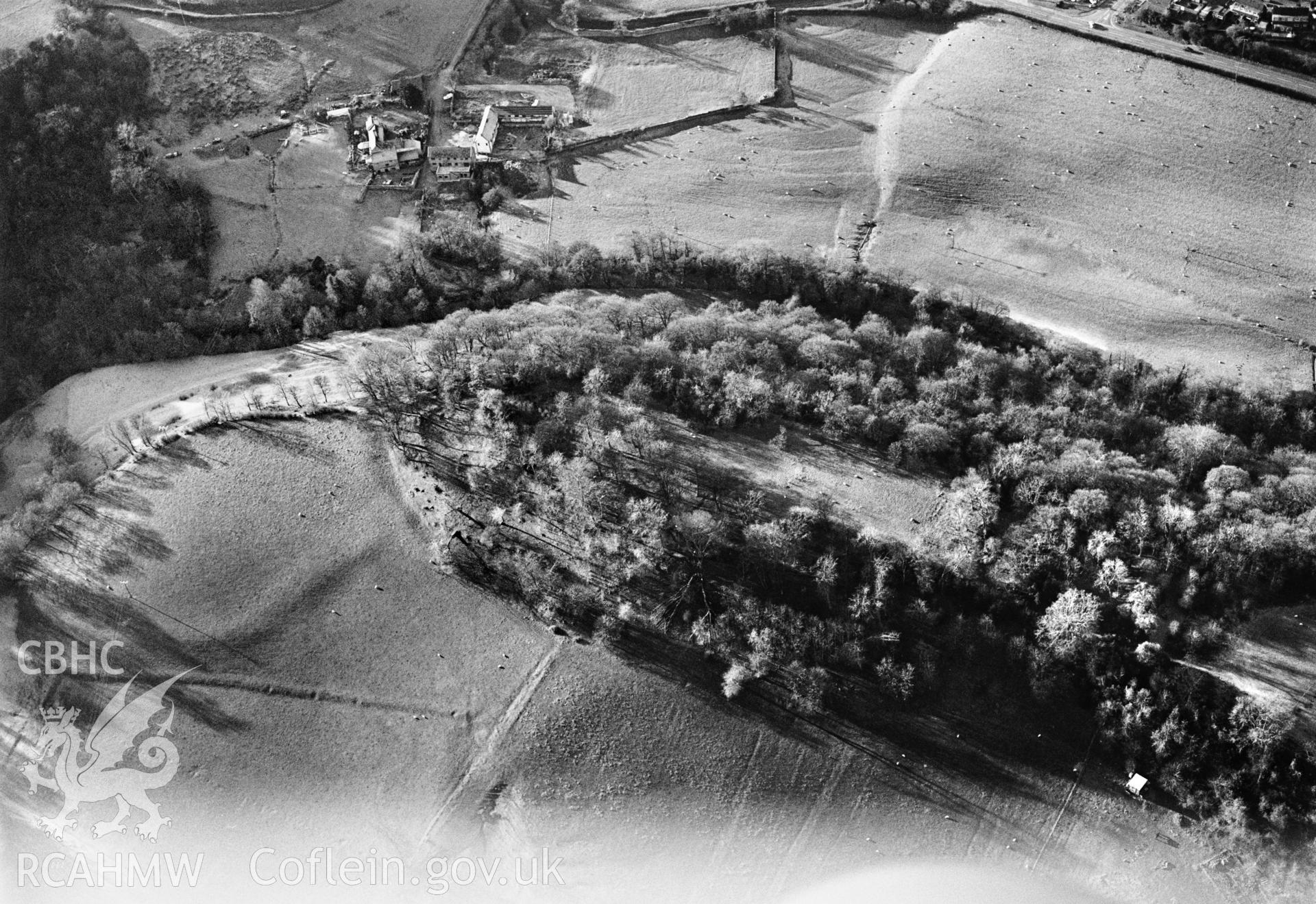 RCAHMW black and white oblique aerial photograph of Bryn Alyn, Camp, taken by C R Musson, 22/12/1996.