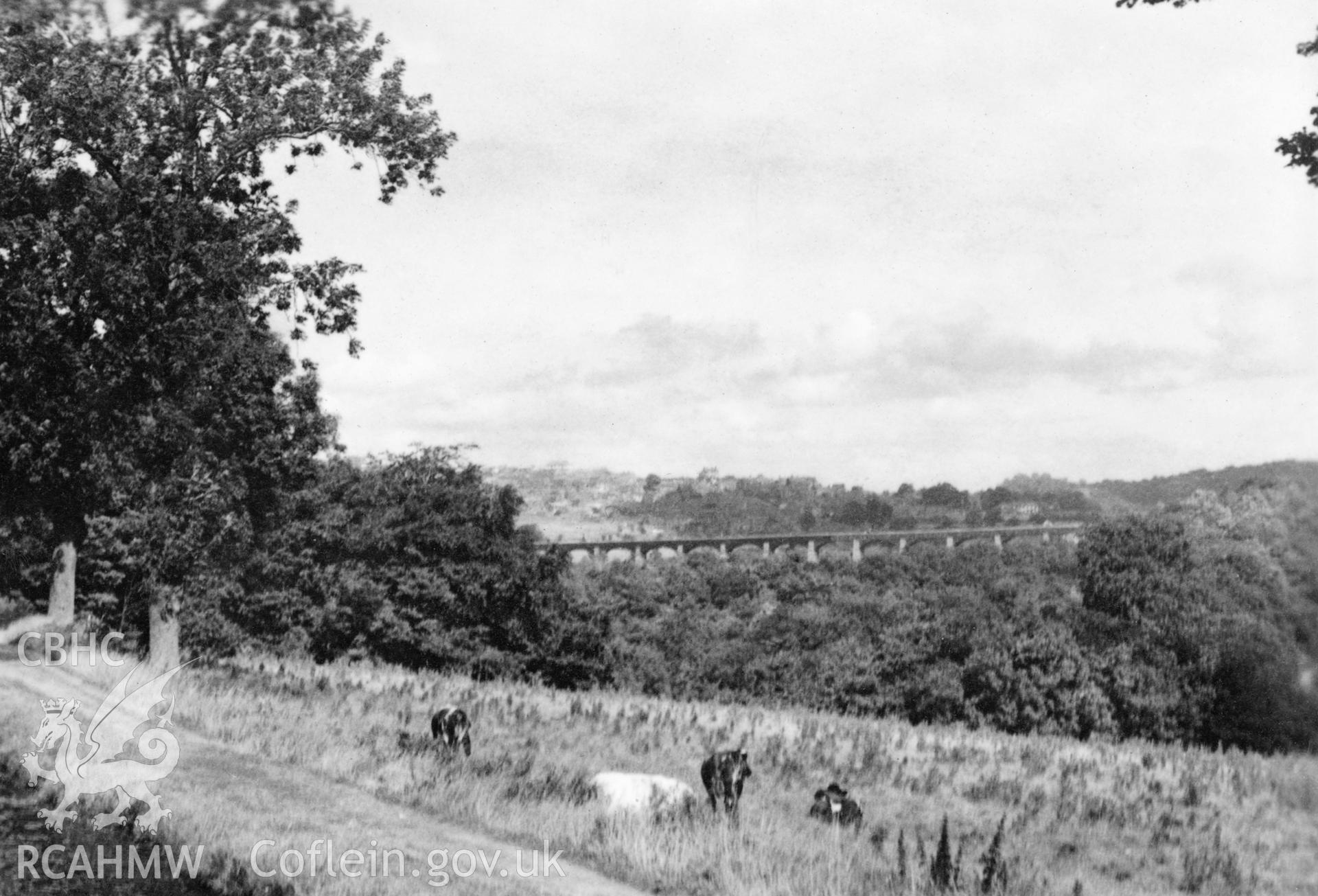 Pontcysyllte Aqueduct; digitized copy of a circa 1940 black and white photograph taken from a photo album loaned for copying by Anne Eastham.
