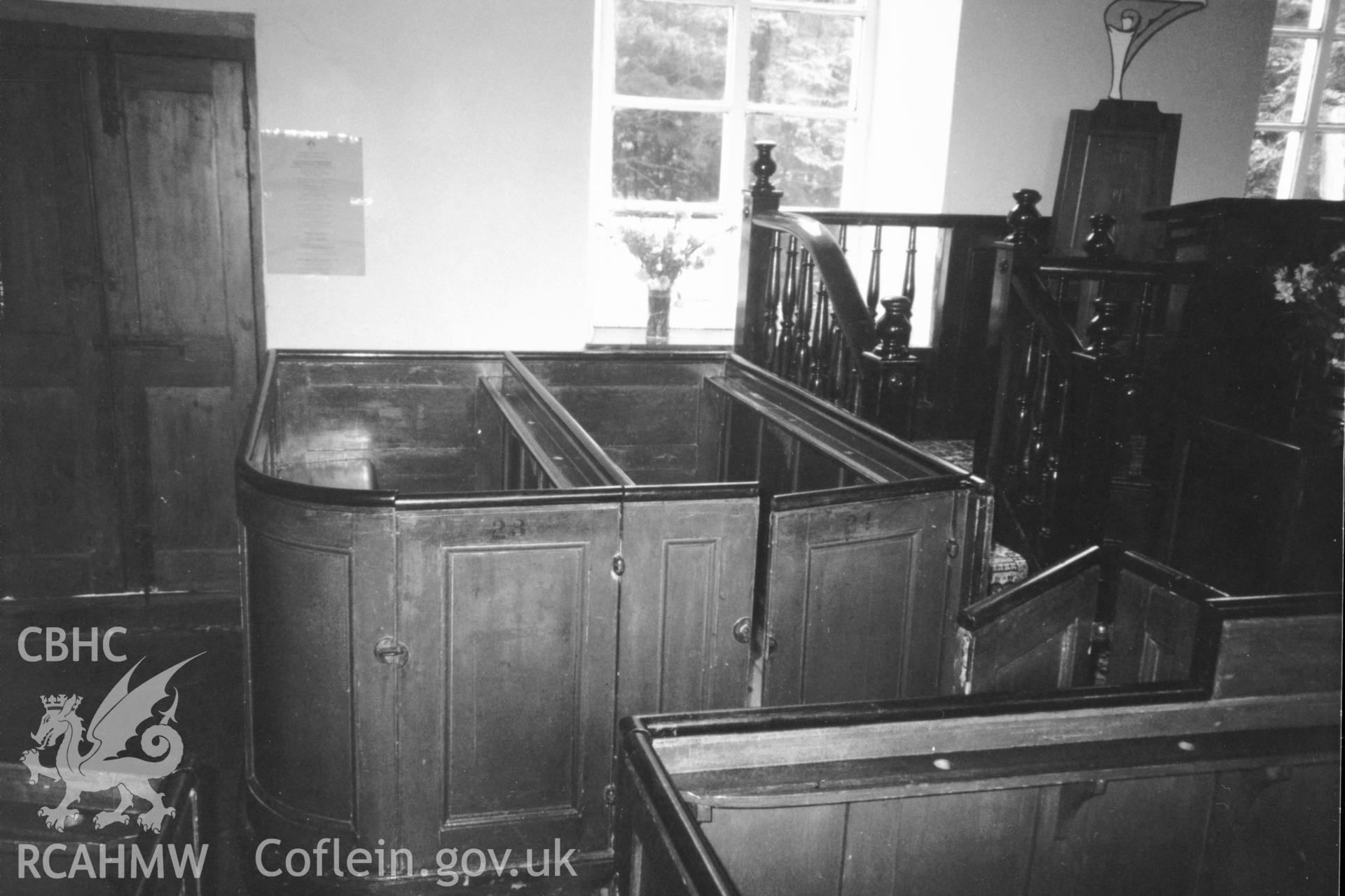 Digital copy of a black and white photograph showing an interior view of Soar y Mynydd Welsh Calvinistic Methodist Chapel,  taken by Robert Scourfield, 1996.