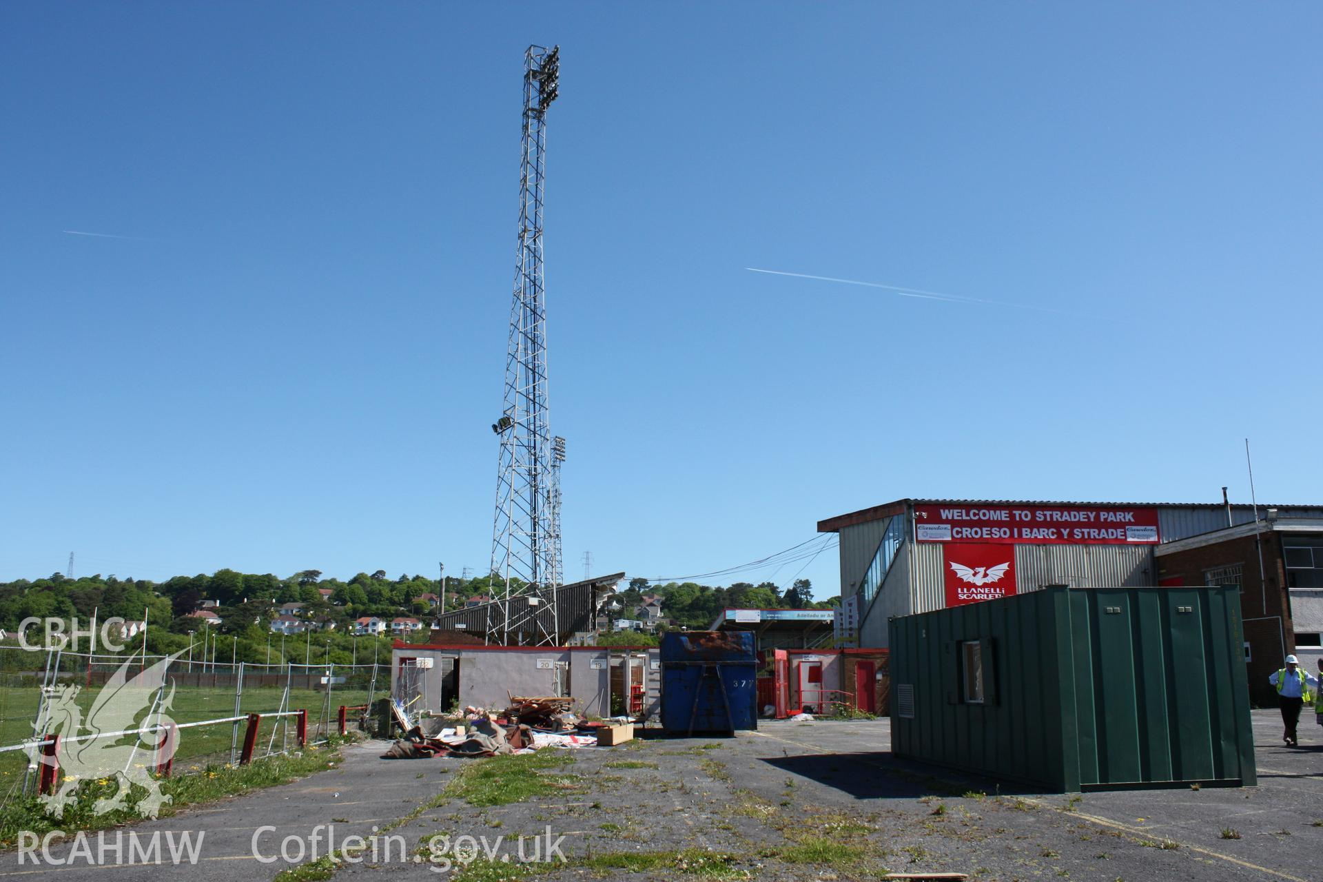 South-west corner of stadium, flood light and turnstiles 18-22.