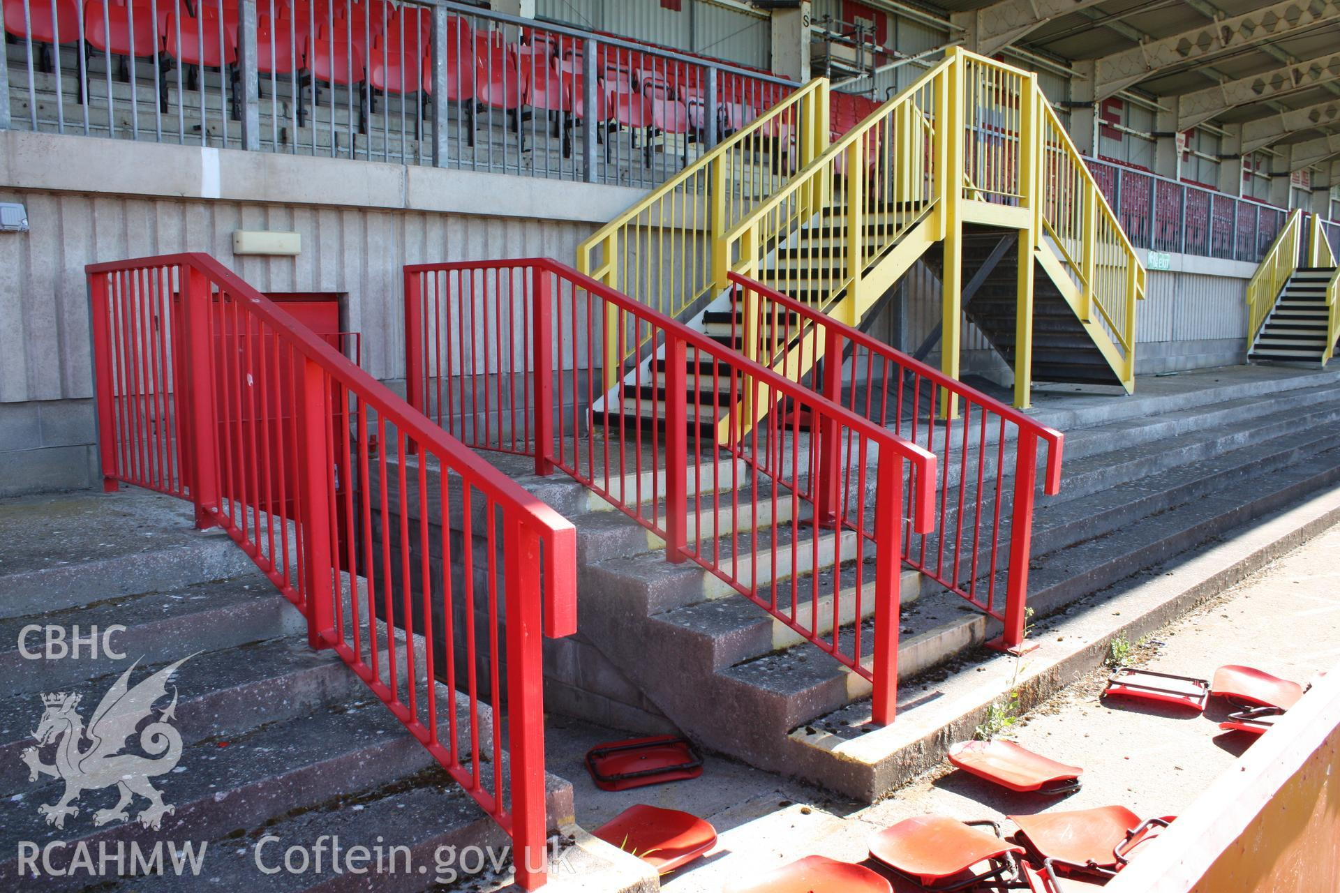 North stand, central entrance and stairs to upper level