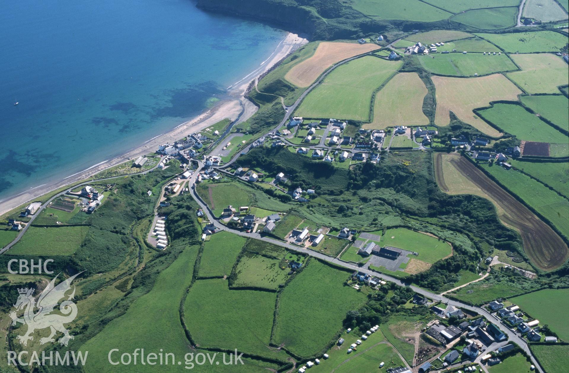 Slide of RCAHMW colour oblique aerial photograph of Aberdaron, taken by T.G. Driver, 26/6/2000.
