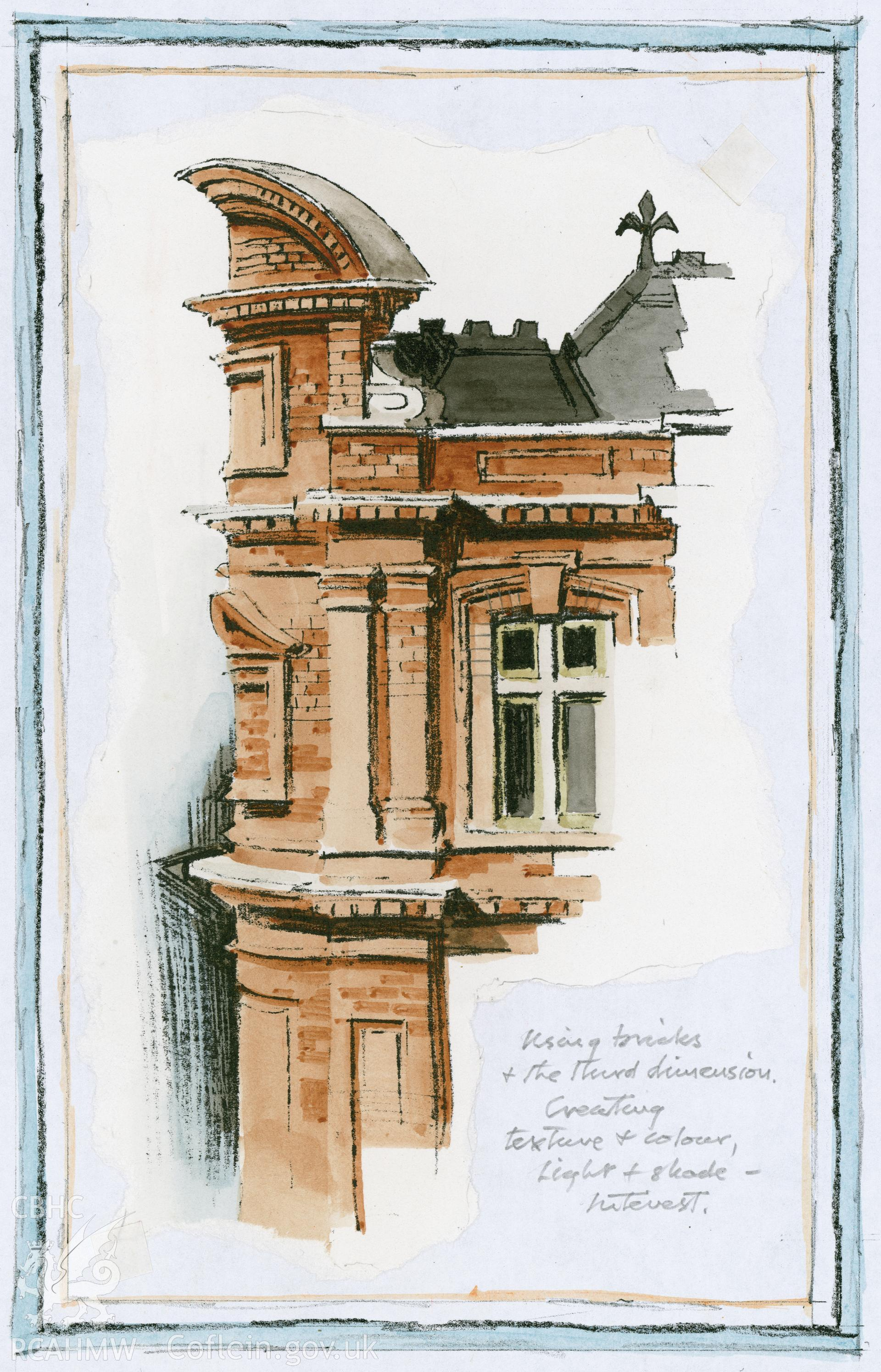 Old Glamorgan Library and Registry, Cardiff: (line copy and watercolour) study of the corner of the building.