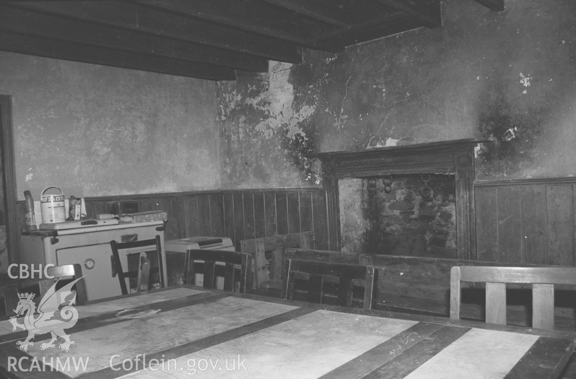 Interior, view towards fireplace in chapel house. NA/CD/97/014