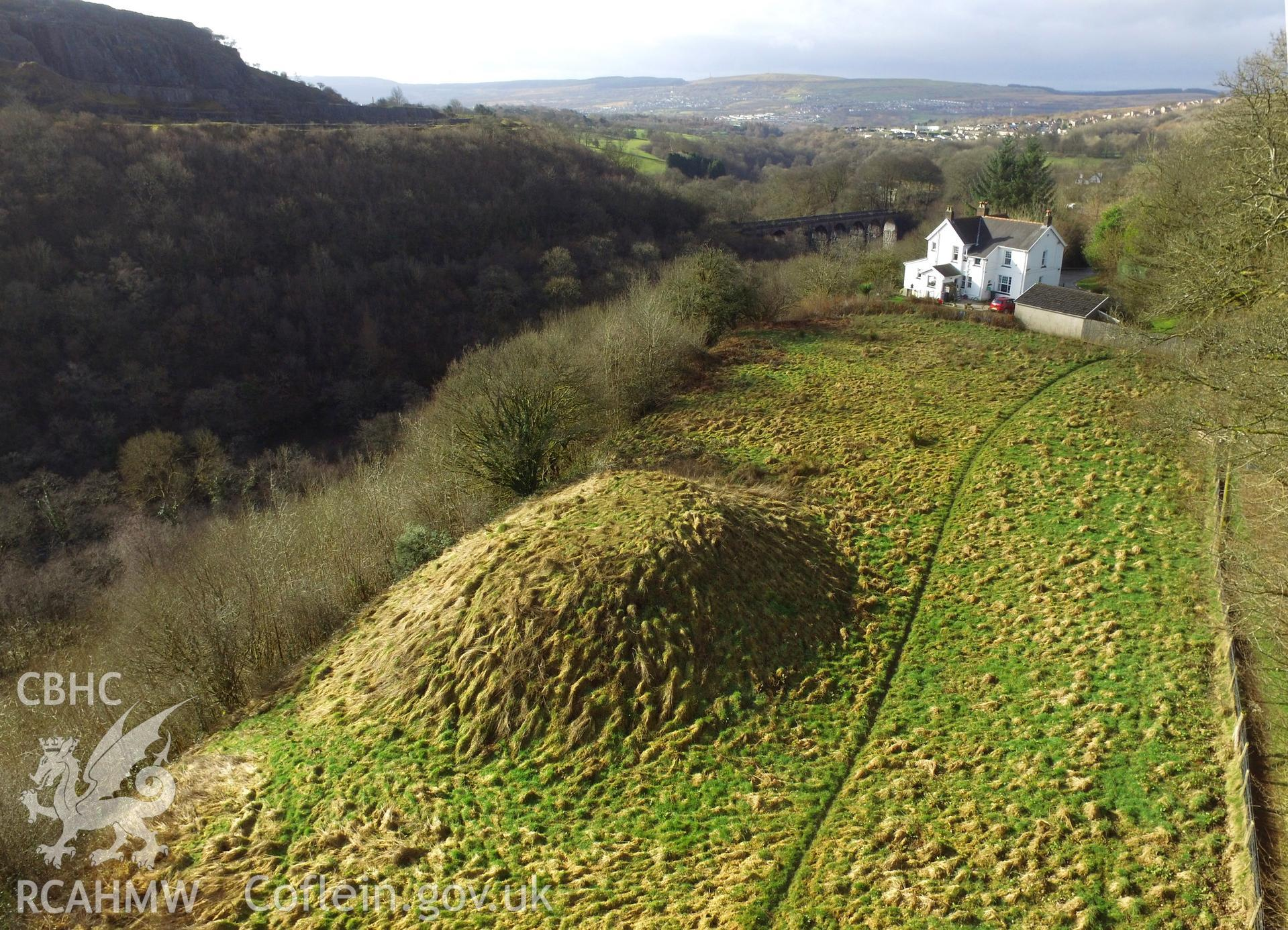 Colour photo showing mound at Cae Burdydd, produced by  Paul R. Davis,  4th February 2017.