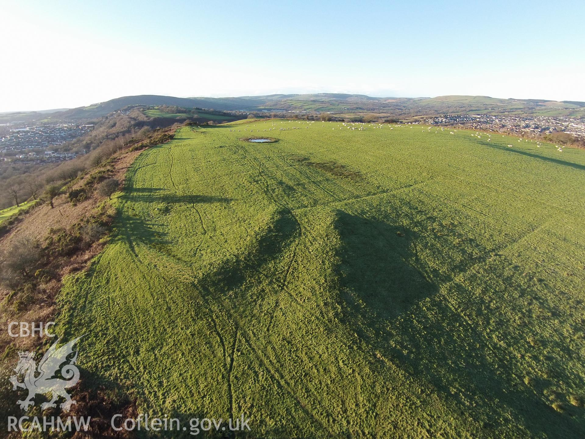 Colour aerial photo showing Caerau Hillfort, taken by Paul R. Davis, 14th January 2016.