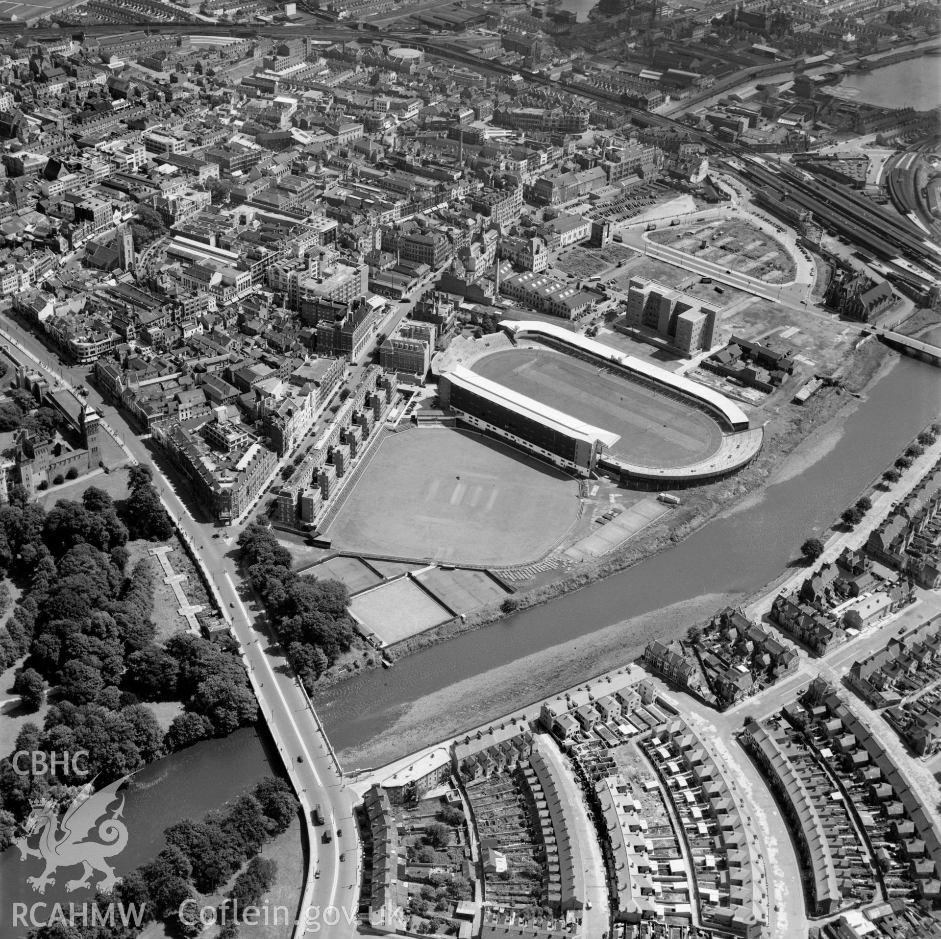 General view of Cardiff showing Arms Park