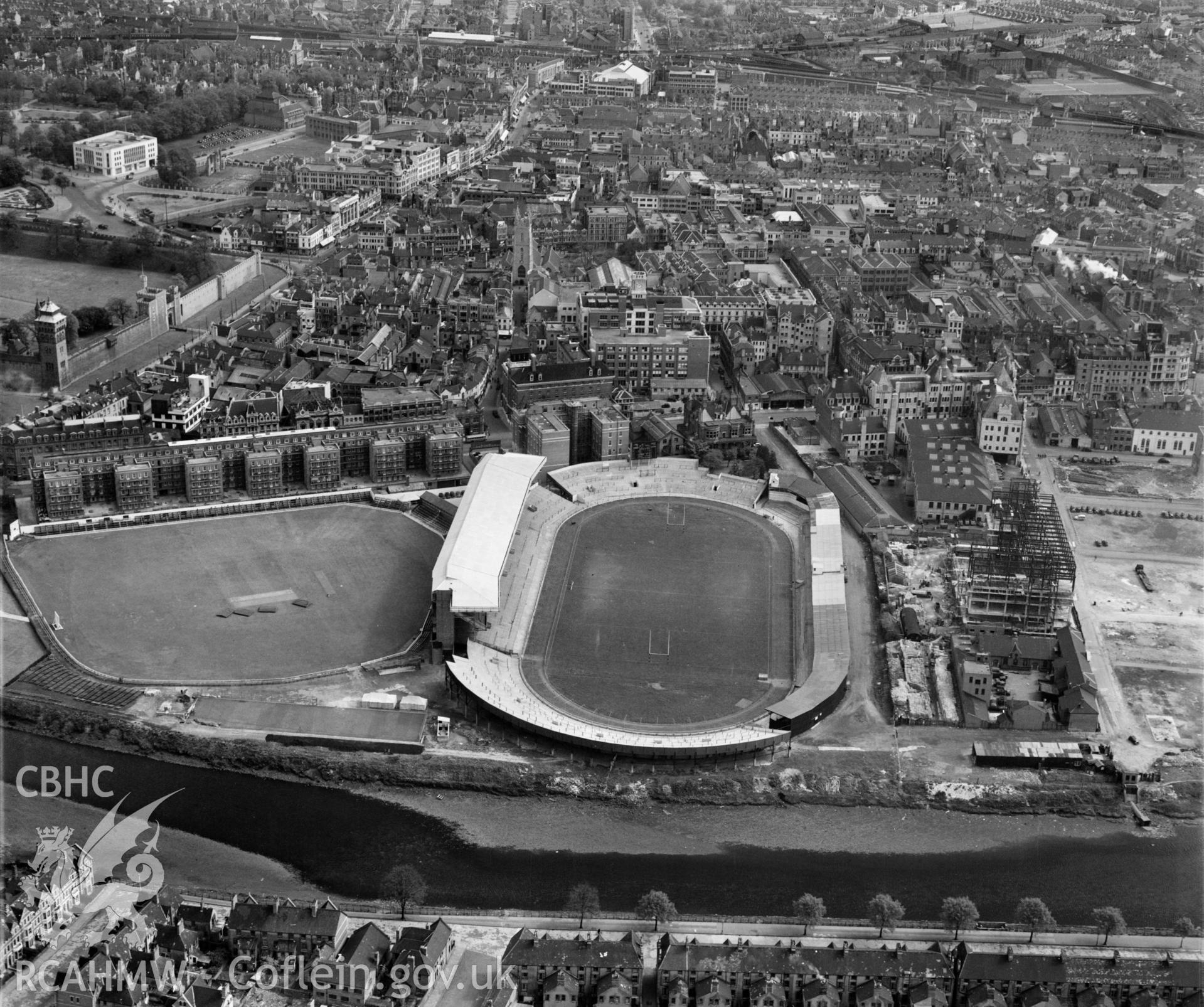 View of Cardiff showing the Arms Park rugby & cricket grounds
