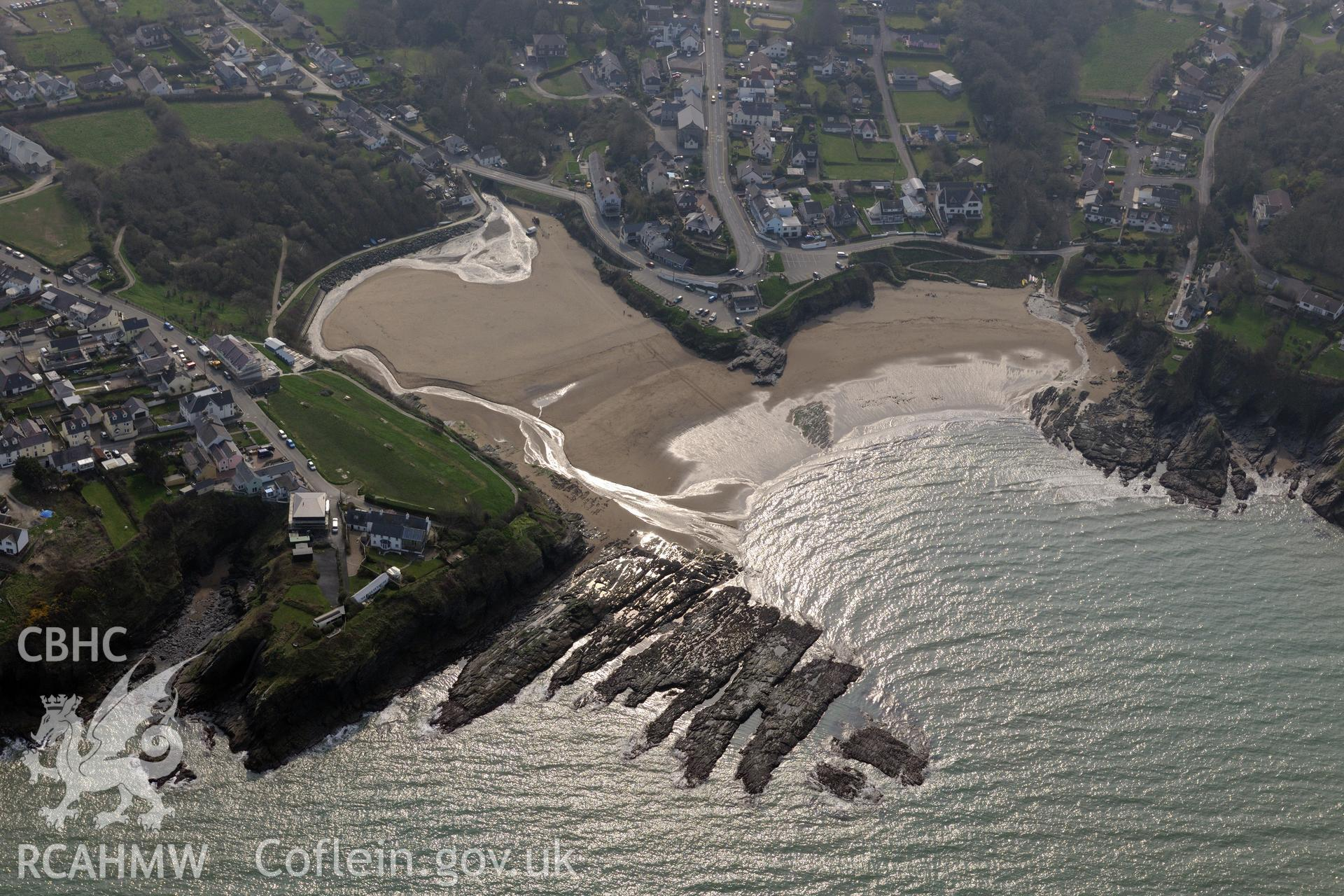 Aerial photography of Aberporth village taken on 27th March 2017. Baseline aerial reconnaissance survey for the CHERISH Project. ? Crown: CHERISH PROJECT 2017. Produced with EU funds through the Ireland Wales Co-operation Programme 2014-2020. All material made freely available through the Open Government Licence.