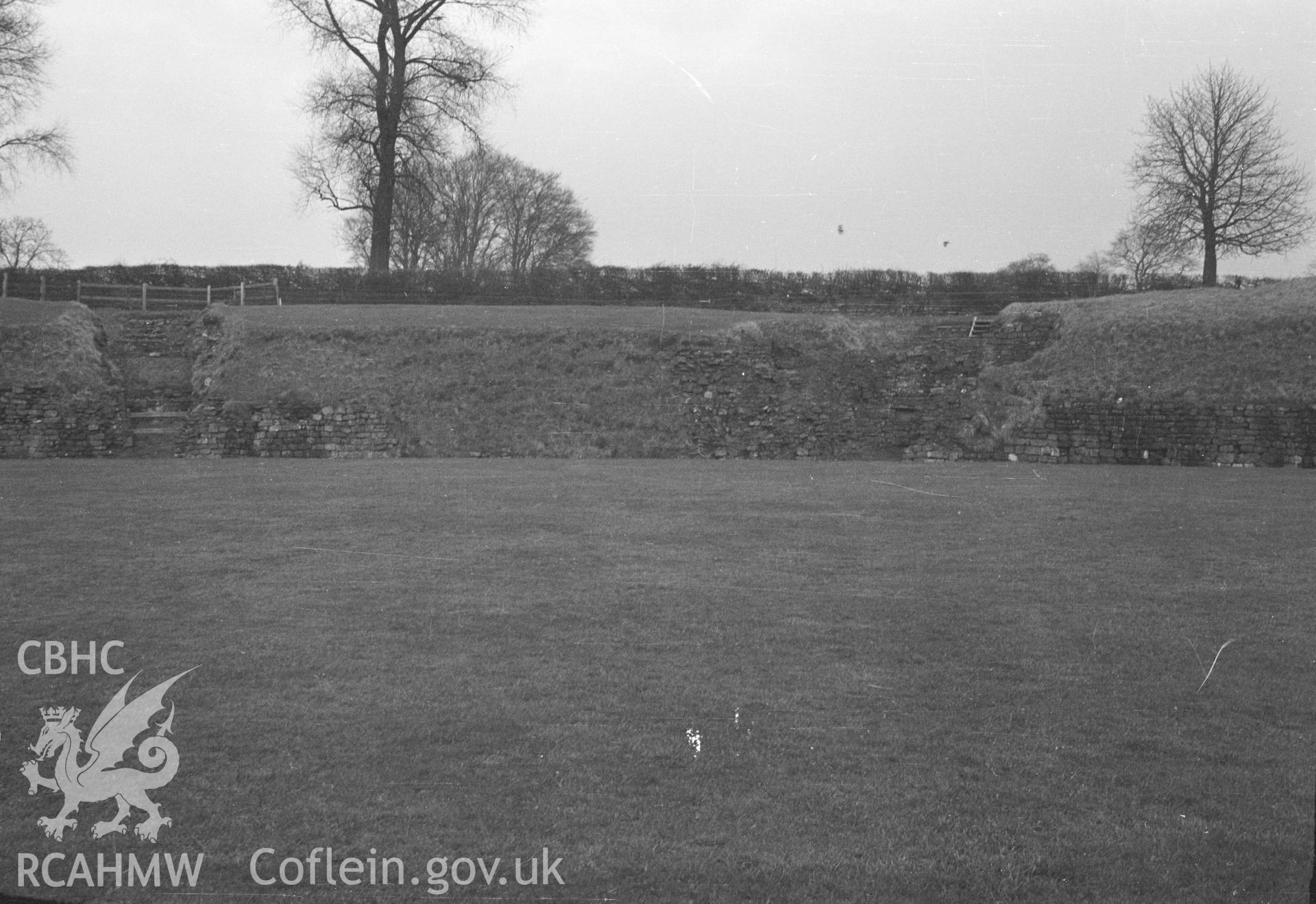 Digital copy of a nitrate negative showing a view of Caerleon legionary fortress taken by Ordnance Survey.