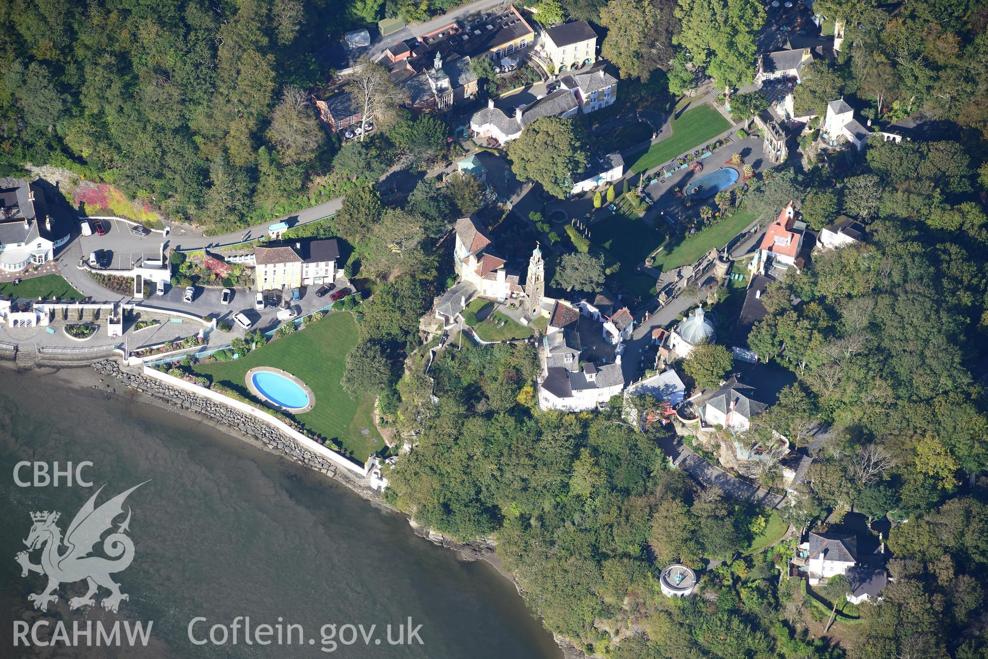 The Campanile tower, Portmeirion, south of Porthmadog. Oblique aerial photograph taken during the Royal Commission's programme of archaeological aerial reconnaissance by Toby Driver on 2nd October 2015.