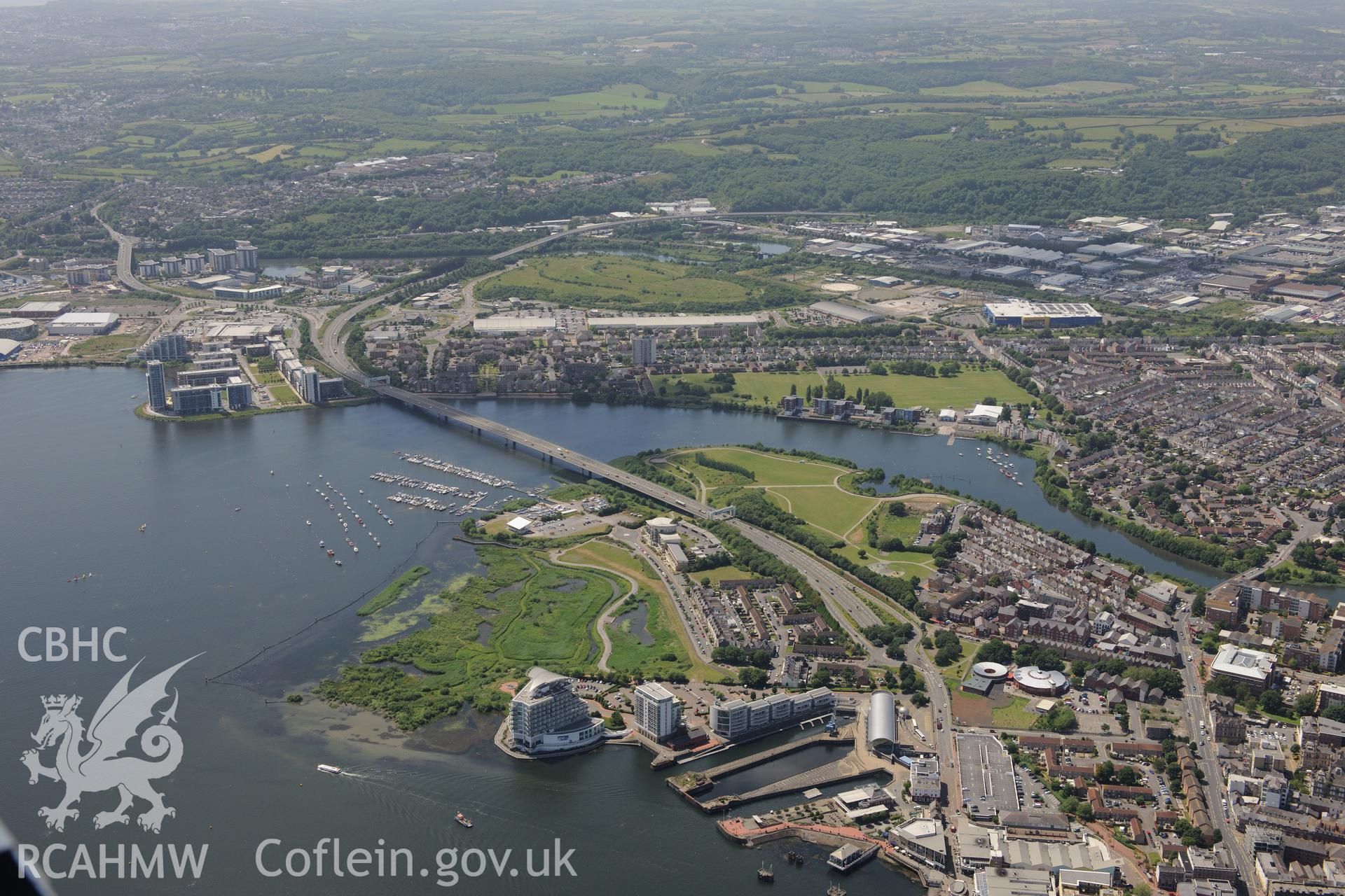 Techniquest; the St. David's Hotel; Hamadryad Park and the Lagoons and Wetlands Nature Reserve, Cardiff Bay. Oblique aerial photograph taken during the Royal Commission's programme of archaeological aerial reconnaissance by Toby Driver on 29th June 2015.