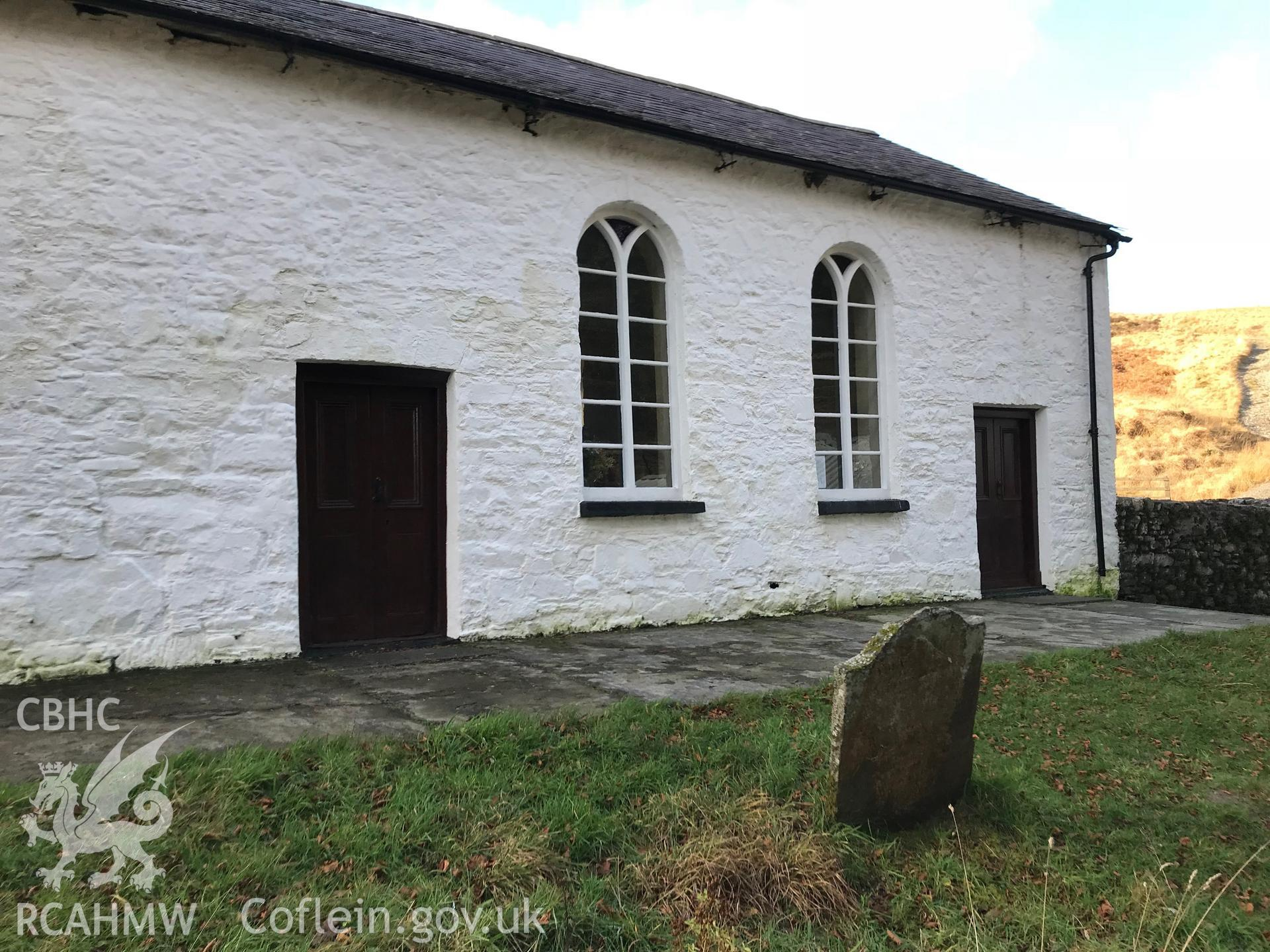 Exterior view showing side elevation of Soar-y-Mynydd Welsh Calvinistic Methodist chapel, Llanddewi Brefi. Colour photograph taken by Paul R. Davis on 17th November 2018.